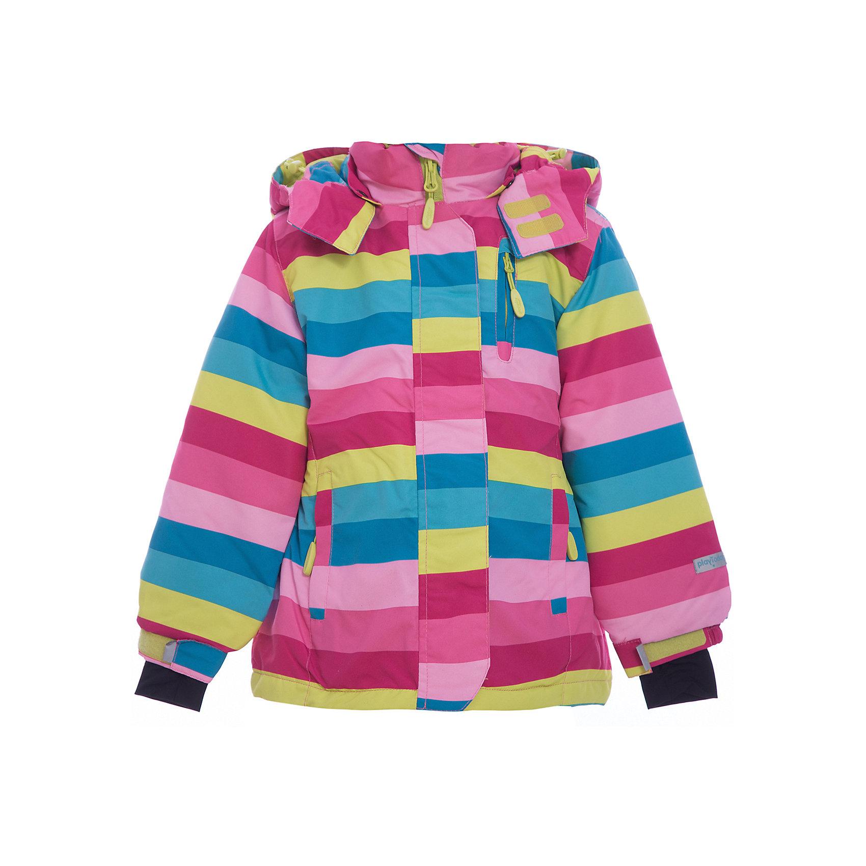 Куртка для девочки PlayTodayКуртка для девочки от известного бренда PlayToday.<br>Яркая полосатая куртка из непромокаемой плащевки. Создана с учетом всех фишек горнолыжной одежды. Застегивается на молнию с защитой подбородка, есть ветрозащитная планка на липучках, как в спортивной одежде. Внутри уютная флисовая подкладка. Капюшон на кнопках, на воротнике застегивается на липучки. Три функциональных кармана на молнии. Внутри есть специальная ветрозащитная юбочка, застегнув которую вы надежно защитите ребенка от снега, дождя и ветра. Низ куртки утягивается стопперами. На рукавах трикотажные манжеты с отверстием под палец.<br>Состав:<br>Верх: 100% полиэстер, Подкладка: 100% полиэстер, Наполнитель: 100% полиэстер, 150 г/м2<br><br>Ширина мм: 356<br>Глубина мм: 10<br>Высота мм: 245<br>Вес г: 519<br>Цвет: разноцветный<br>Возраст от месяцев: 36<br>Возраст до месяцев: 48<br>Пол: Женский<br>Возраст: Детский<br>Размер: 104,122,98,110,116,128<br>SKU: 4897750