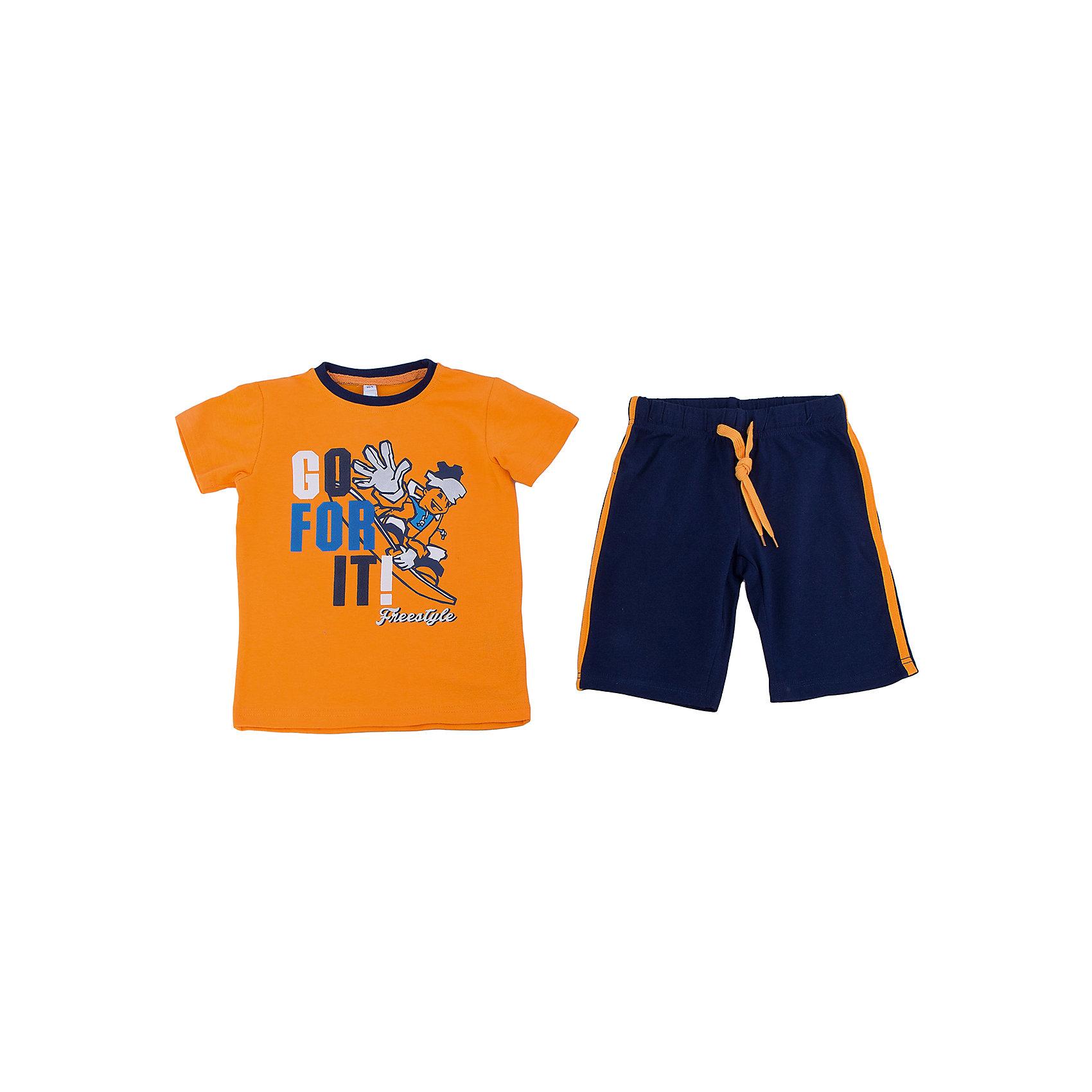 Комплект: футболка и шорты для мальчика PlayTodayКомплекты<br>Комплект: футболка и шорты для мальчика от известного бренда PlayToday.<br>Уютный хлопковый комплект из яркой футболки с короткими рукавами и шорт.<br>Футболка украшена комбинацией резинового, фольгированного и puff-принтов. На воротнике контрастная трикотажная резинка. <br>Пояс шорт на резинке, дополнительно регулируется яркой апельсиновой тесьмой. По бокам лампасы в тон футболке.<br>Состав:<br>95% хлопок, 5% эластан<br><br>Ширина мм: 191<br>Глубина мм: 10<br>Высота мм: 175<br>Вес г: 273<br>Цвет: белый<br>Возраст от месяцев: 72<br>Возраст до месяцев: 84<br>Пол: Мужской<br>Возраст: Детский<br>Размер: 122,128,98,104,110,116<br>SKU: 4897863