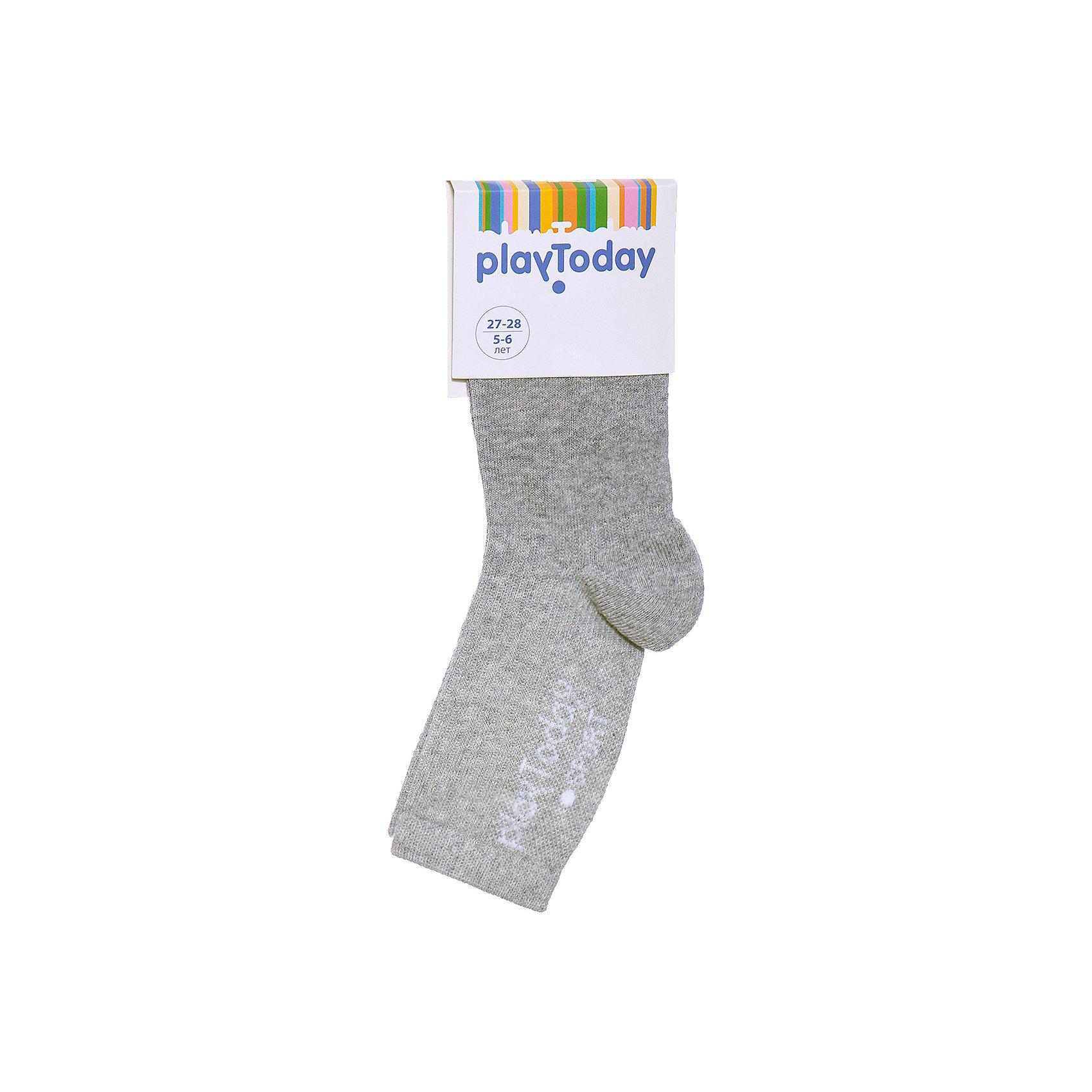 Носки для мальчика PlayTodayНоски<br>Носки для мальчика от известного бренда PlayToday.<br>Уютные хлопковые носочки на каждый день. Верх на мягкой резинке.<br>Состав:<br>75% хлопок, 22% нейлон, 3% эластан<br><br>Ширина мм: 87<br>Глубина мм: 10<br>Высота мм: 105<br>Вес г: 115<br>Цвет: серый<br>Возраст от месяцев: 15<br>Возраст до месяцев: 24<br>Пол: Мужской<br>Возраст: Детский<br>Размер: 14,20,16,18<br>SKU: 4897905