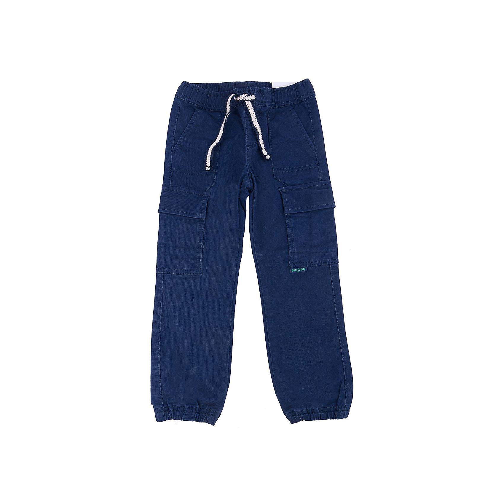 Брюки для мальчика PlayTodayБрюки<br>Брюки для мальчика от известного бренда PlayToday.<br>Стильные твиловые брюки темно-синего цвета. Пояс на резинке, дополнительно регулируется плетеной тесьмой. Есть 5 функциональных карманов. Низ штанишек на резинке.<br>Состав:<br>98% хлопок, 2% эластан<br><br>Ширина мм: 215<br>Глубина мм: 88<br>Высота мм: 191<br>Вес г: 336<br>Цвет: синий<br>Возраст от месяцев: 24<br>Возраст до месяцев: 36<br>Пол: Мужской<br>Возраст: Детский<br>Размер: 98,128,110,116,122,104<br>SKU: 4898159