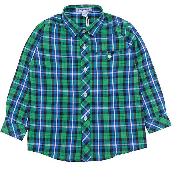 Рубашка для мальчика PlayTodayБлузки и рубашки<br>Рубашка для мальчика от известного бренда PlayToday.<br>Яркая клетчатая сорочка для мальчика. Стильное сочетание цветов - бирюзовый и изумрудно зеленый. Застегивается на прозрачные пуговицы на планке и манжетах. Украшена декоративным карманом на полочке.<br>Состав:<br>65% полиэстер, 35% хлопок<br><br>Ширина мм: 174<br>Глубина мм: 10<br>Высота мм: 169<br>Вес г: 157<br>Цвет: белый<br>Возраст от месяцев: 36<br>Возраст до месяцев: 48<br>Пол: Мужской<br>Возраст: Детский<br>Размер: 104,98,122,116,110,128<br>SKU: 4898166