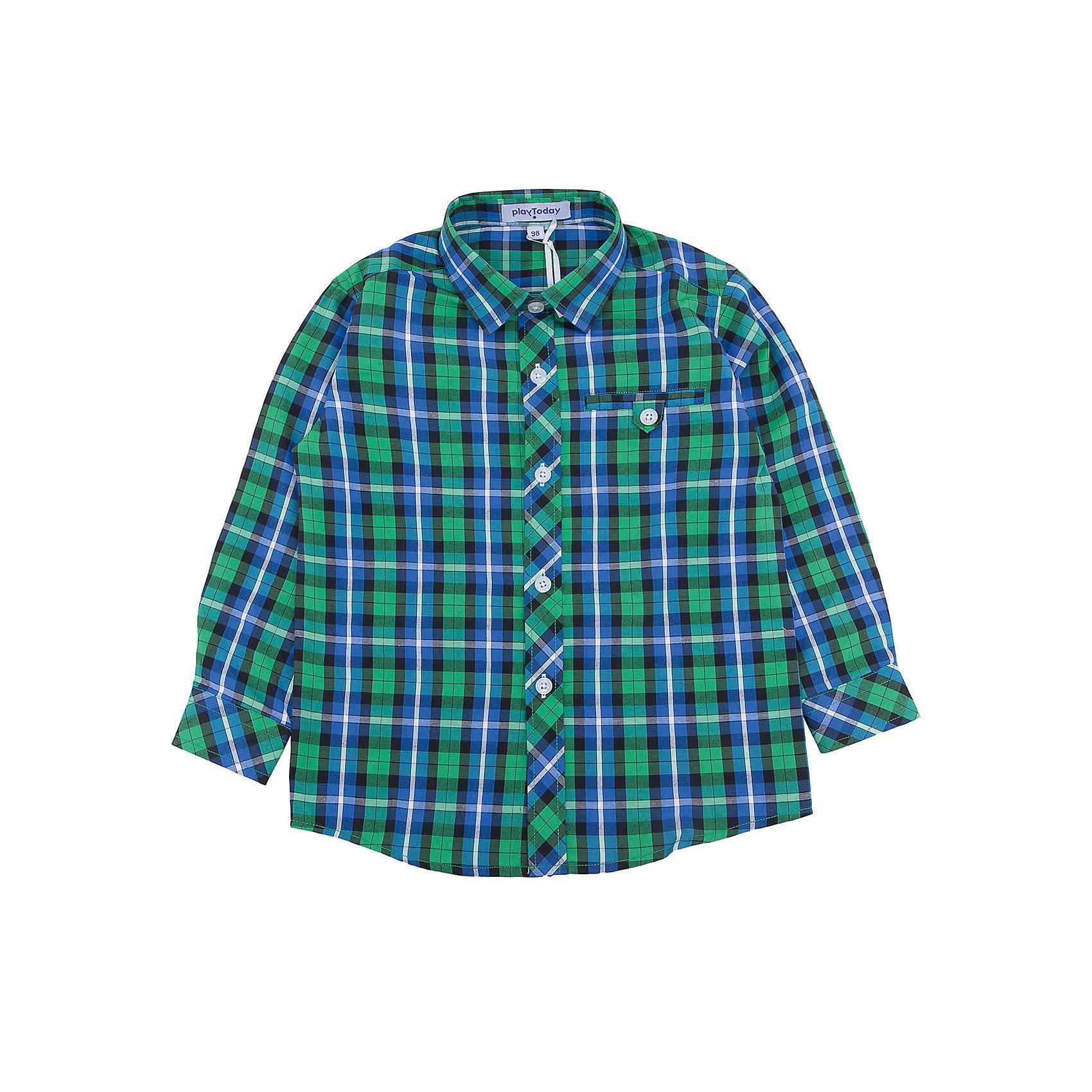 Рубашка для мальчика PlayTodayБлузки и рубашки<br>Рубашка для мальчика от известного бренда PlayToday.<br>Яркая клетчатая сорочка для мальчика. Стильное сочетание цветов - бирюзовый и изумрудно зеленый. Застегивается на прозрачные пуговицы на планке и манжетах. Украшена декоративным карманом на полочке.<br>Состав:<br>65% полиэстер, 35% хлопок<br><br>Ширина мм: 174<br>Глубина мм: 10<br>Высота мм: 169<br>Вес г: 157<br>Цвет: разноцветный<br>Возраст от месяцев: 24<br>Возраст до месяцев: 36<br>Пол: Мужской<br>Возраст: Детский<br>Размер: 98,104,128,110,116,122<br>SKU: 4898166