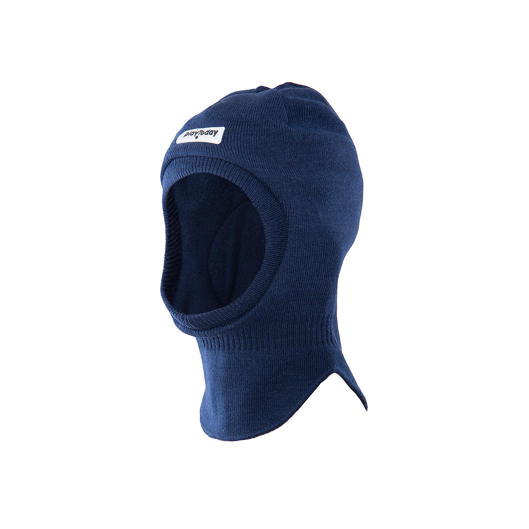 Шапка для мальчика PlayTodayШапка для мальчика от известного бренда PlayToday.<br>Теплая шапка-шлем из вязаного трикотажа надежно защитит ребенка от ветра.<br>Состав:<br>Верх: 100% акрил,  подкладка: 100% полиэстер, наполнитель: 100% полиэстер<br><br>Ширина мм: 89<br>Глубина мм: 117<br>Высота мм: 44<br>Вес г: 155<br>Цвет: синий<br>Возраст от месяцев: 24<br>Возраст до месяцев: 36<br>Пол: Мужской<br>Возраст: Детский<br>Размер: 50,52,54<br>SKU: 4898297
