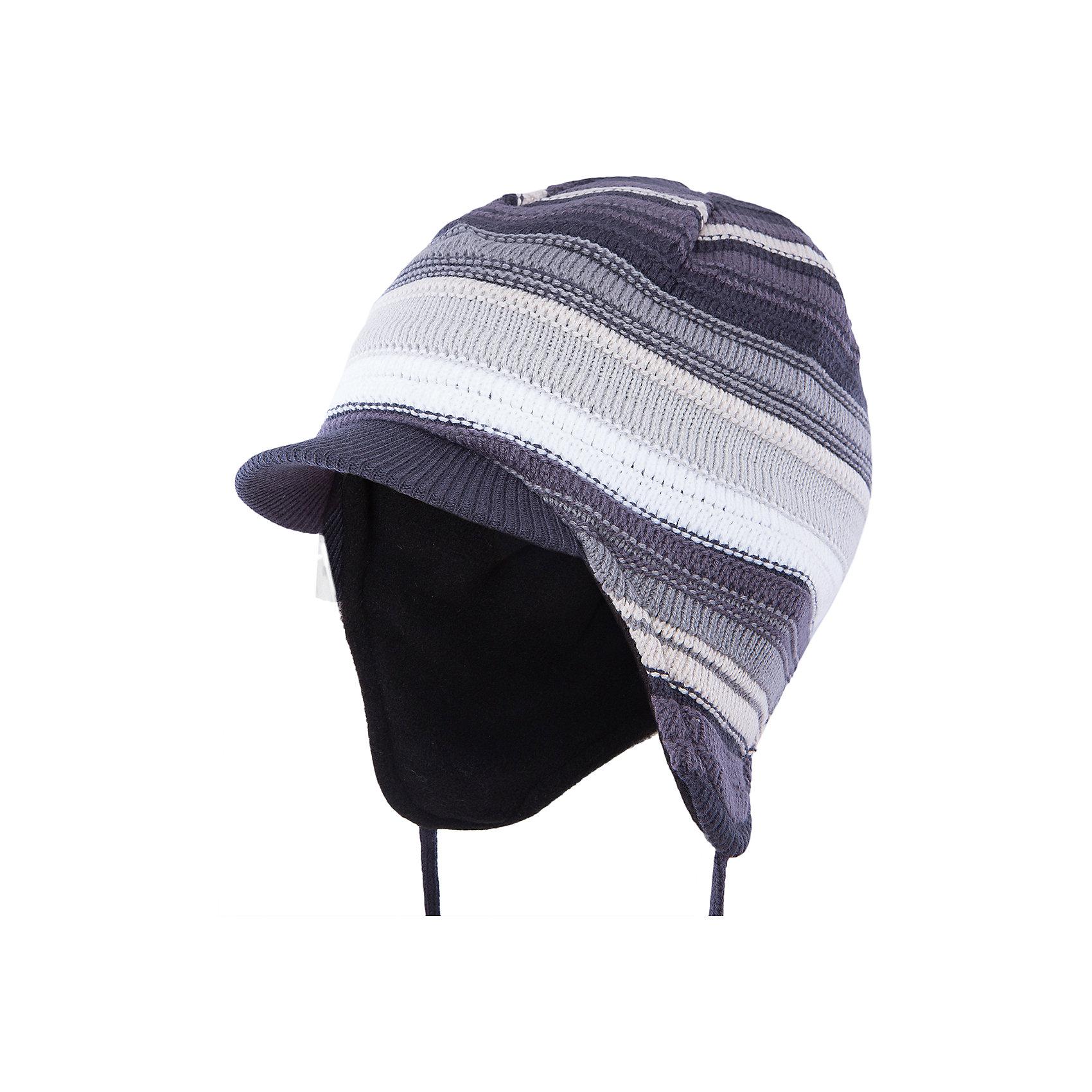 Шапка для мальчика PlayTodayШапка для мальчика от известного бренда PlayToday.<br>Теплая шапка из вязаного трикотажа в разнокалиберную полоску. Козырек надежно защитит от снега, удобные завязки. Внутри уютная флисовая подкладка.<br>Состав:<br>Верх: 60% хлопок, 40% акрил Подкладка: 100% полиэстер<br><br>Ширина мм: 89<br>Глубина мм: 117<br>Высота мм: 44<br>Вес г: 155<br>Цвет: серый<br>Возраст от месяцев: 24<br>Возраст до месяцев: 36<br>Пол: Мужской<br>Возраст: Детский<br>Размер: 50,52,54<br>SKU: 4898301