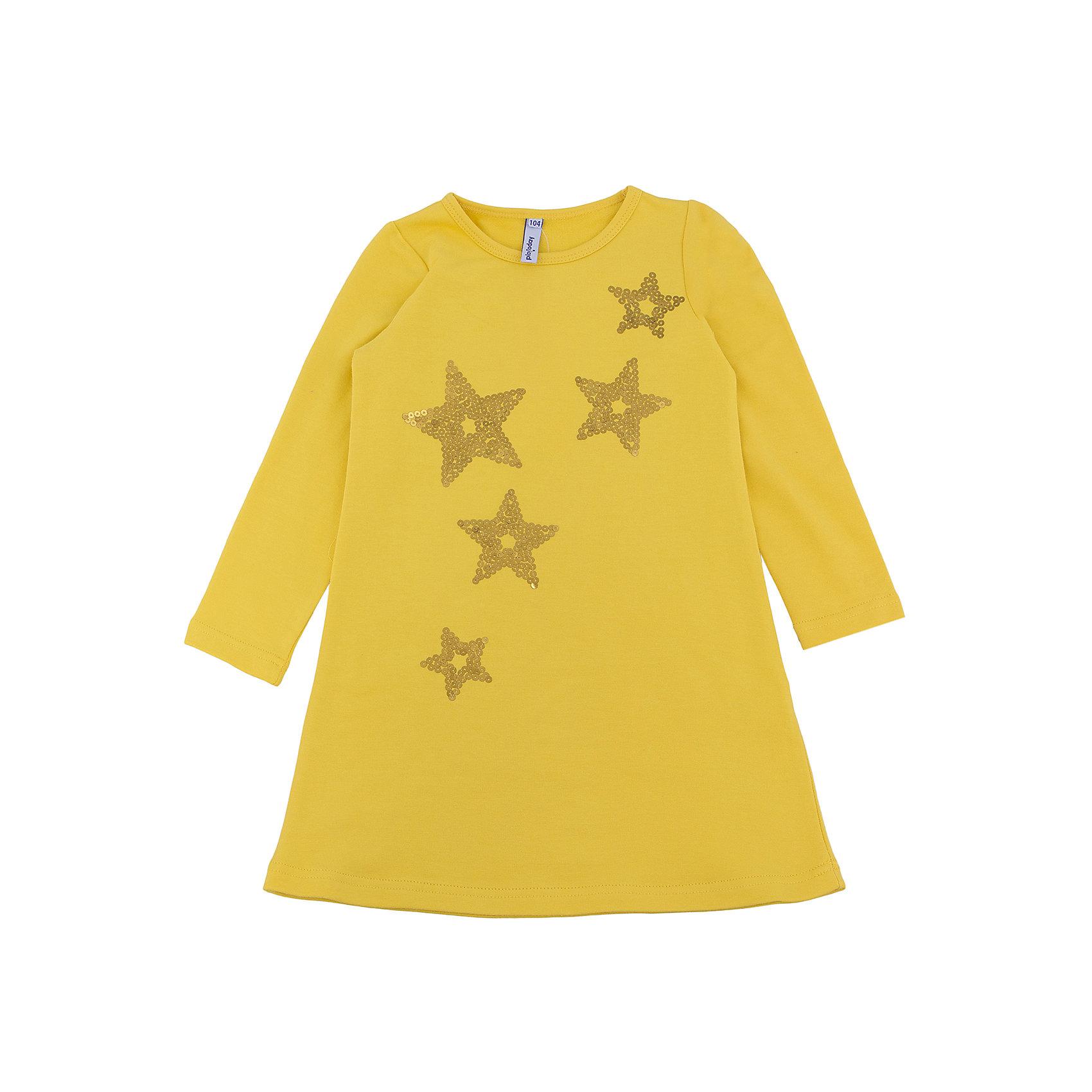 Платье для девочки PlayTodayПлатье для девочки от известного бренда PlayToday.<br>Яркое хлопковое платье с длинными рукавами. Украшено звездочками из сверкающих страз. Застегивается на кнопки на спинке.<br>Состав:<br>95% хлопок, 5% эластан<br><br>Ширина мм: 236<br>Глубина мм: 16<br>Высота мм: 184<br>Вес г: 177<br>Цвет: желтый<br>Возраст от месяцев: 48<br>Возраст до месяцев: 60<br>Пол: Женский<br>Возраст: Детский<br>Размер: 110,98,116,128,104,122<br>SKU: 4898481