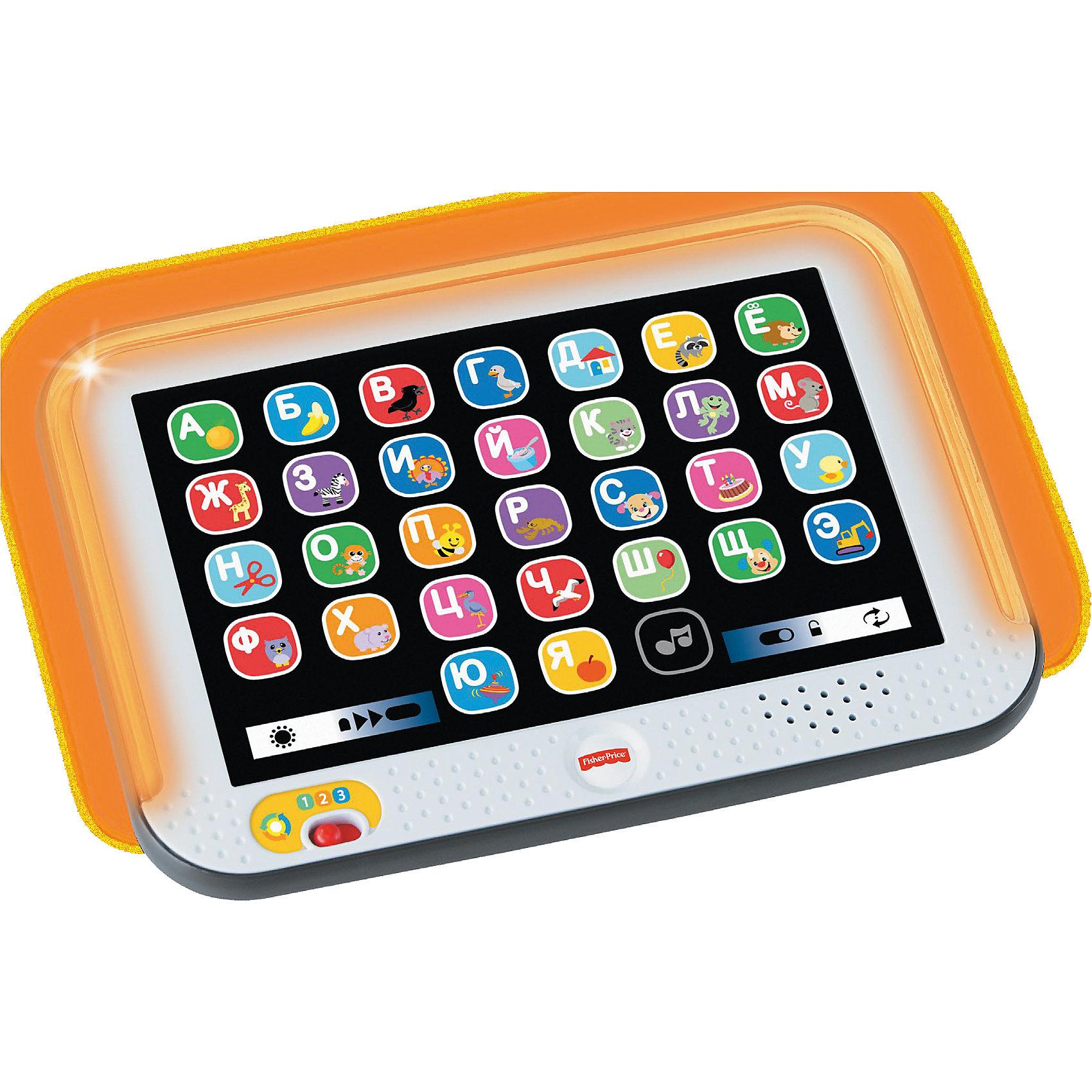 Обучающий планшет с технологией Smart Stages, Fisher PriceРазвивающие игрушки<br>В планшете - 3 режима, в каждом есть набор развивающих песенок и фраз, ориентированных на разный уровень развития малыша. В его распоряжении будет 28 кнопок, которые активируют песни и звуки. Программы помогают изучать алфавит, зверей и многое другое. В изделии есть и световые эффекты, которые помогут удержать внимание ребенка.<br><br>Дополнительная информация:<br><br>цвет: разноцветный;<br>материал: пластик;<br>возраст: от шести месяцев.<br>3 обучающих режима;<br>28 кнопок;<br>подсветка.<br><br>Обучающий планшет с технологией Smart Stages от Fisher Price можно купить в нашем магазине.<br><br>Ширина мм: 40<br>Глубина мм: 280<br>Высота мм: 205<br>Вес г: 409<br>Возраст от месяцев: 12<br>Возраст до месяцев: 36<br>Пол: Унисекс<br>Возраст: Детский<br>SKU: 4899979