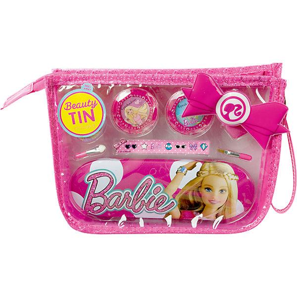 Игровой набор детской декоративной косметики в сумочке, BarbieНаборы детской косметики<br>Игровой набор детской декоративной косметики в сумочке, Barbie (Барби).<br><br>Характеристики:<br><br>• косметика безопасна для ребенка<br>• яркая упаковка<br>• не содержит парабенов и пальмового масла<br>• подходит в качестве подарка<br>• в комплекте: тени для век, блеск для губ, кисточка, аппликатор, пенал, заколка, наклейки<br>• размер: 22х6,3х15,7 см<br>• вес: 165 грамм<br>• перед первым применением рекомендуется провести тест на аллергию: нанесите немного косметики на кожу на 30-40 минут и проверьте реакцию<br><br>Каждая девочка мечтает о своей косметики, которая позволит ей создать свой неповторимый образ. Детский набор декоративной косметики поможет ей в этом! Косметика упакована в удобную сумочку, которую можно взять с собой в дорогу. В набор входят тени, блеск для губ и аксессуары. Ребенок сможет сделать очаровательный макияж и дополнить его стильной заколочкой. Косметика полностью безопасна и легко смывается водой. Набор упакован в красивую сумочку и отлично подойдет в качестве подарка.<br><br>Игровой набор детской декоративной косметики в сумочке, Barbie вы можете купить в нашем интернет-магазине.<br>Ширина мм: 253; Глубина мм: 210; Высота мм: 63; Вес г: 166; Возраст от месяцев: 48; Возраст до месяцев: 84; Пол: Женский; Возраст: Детский; SKU: 4900293;