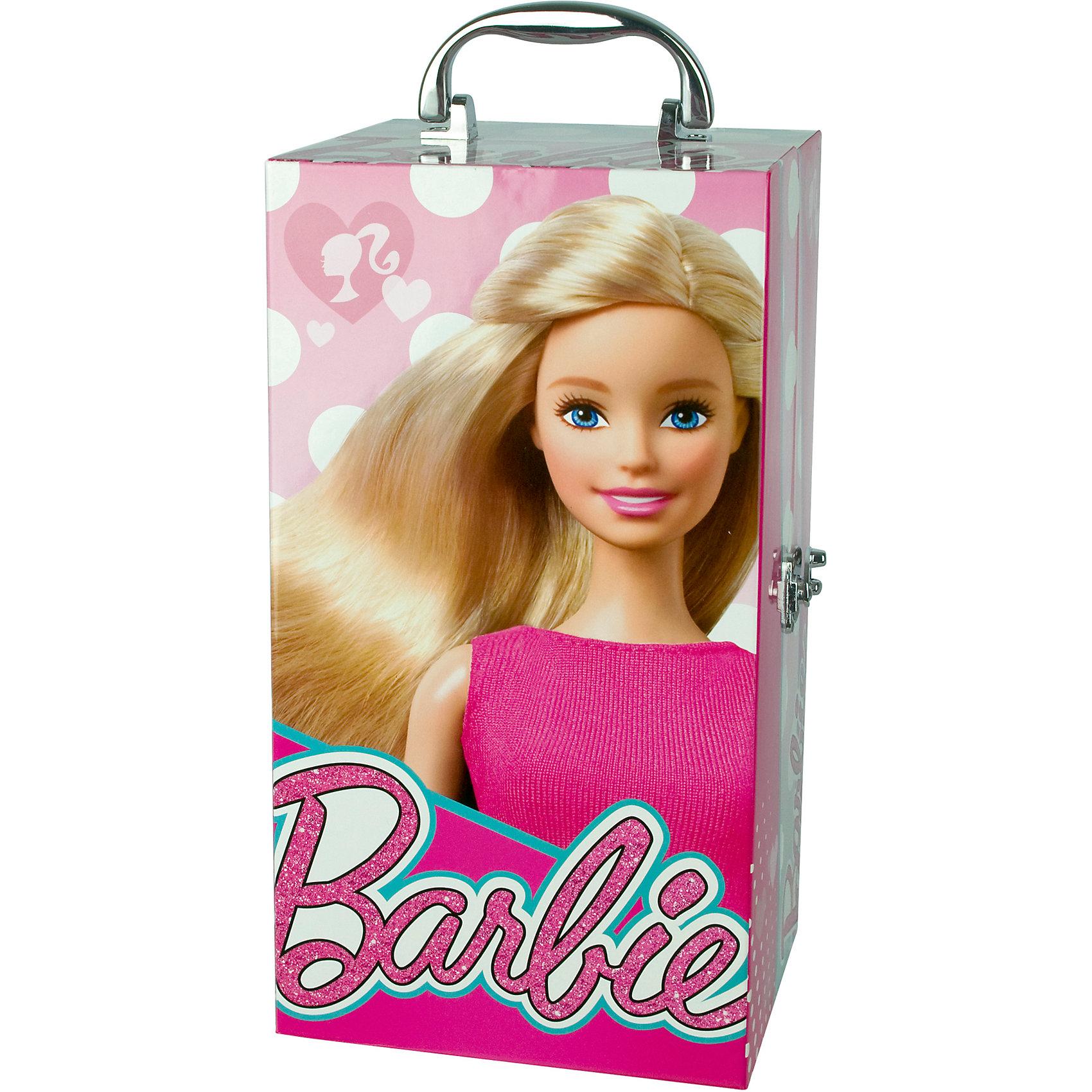 Игровой набор детской декоративной косметики в чемодане с подсветкой, Barbie от myToys