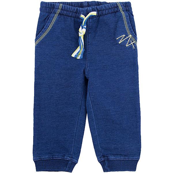 Брюки для мальчика PlayTodayПолзунки и штанишки<br>Брюки для мальчика от известного бренда PlayToday.<br>Мягкие брюки из футера с имитацией денима. Пояс на резинке, дополнительно регулируется яркой трехцветной тесьмой. Есть два функциональных кармана. Контрастная салатовая стежка.<br>Состав:<br>95% хлопок, 5% эластан<br>Ширина мм: 157; Глубина мм: 13; Высота мм: 119; Вес г: 200; Цвет: синий; Возраст от месяцев: 6; Возраст до месяцев: 9; Пол: Мужской; Возраст: Детский; Размер: 74,80,86,92; SKU: 4900369;