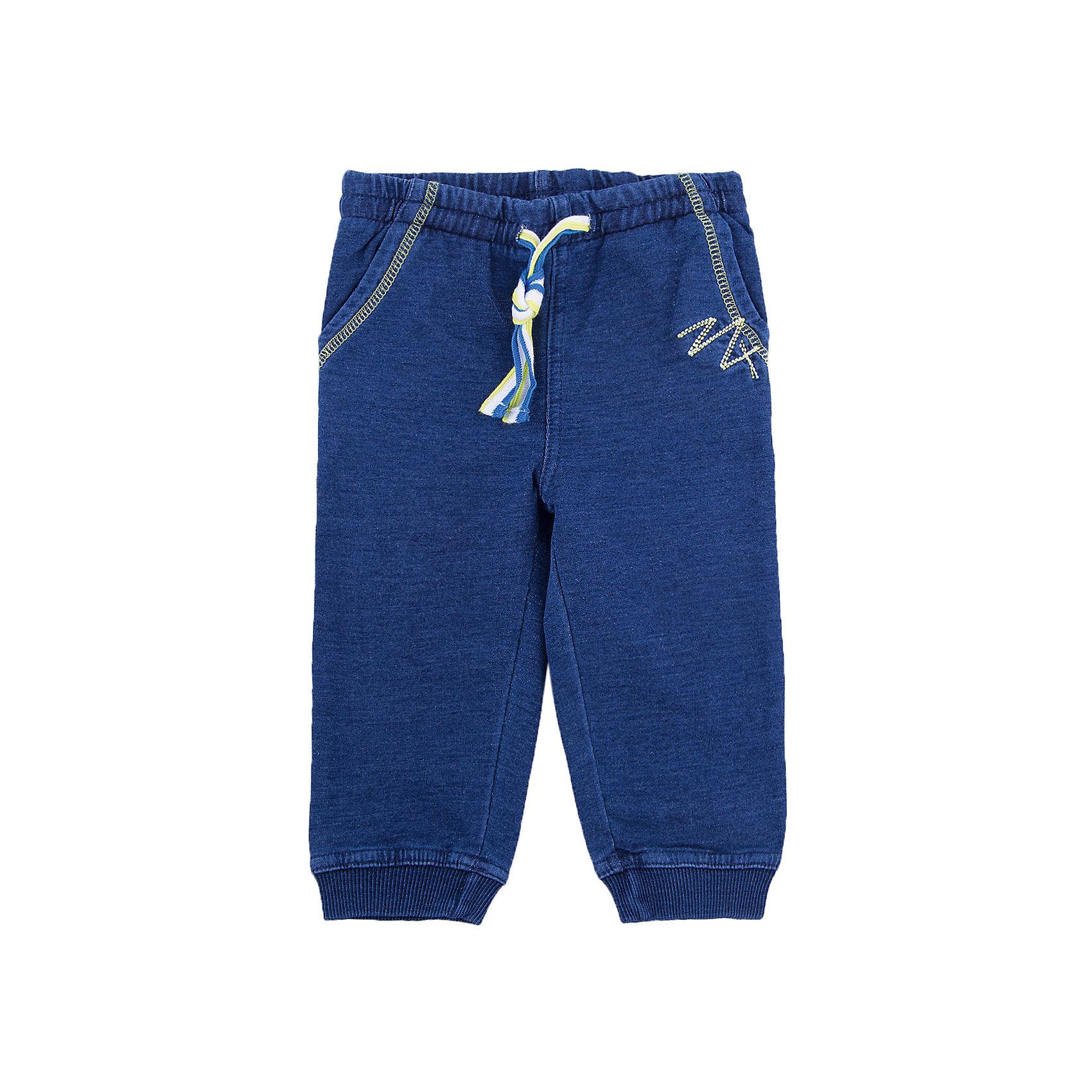 Брюки для мальчика PlayTodayБрюки для мальчика от известного бренда PlayToday.<br>Мягкие брюки из футера с имитацией денима. Пояс на резинке, дополнительно регулируется яркой трехцветной тесьмой. Есть два функциональных кармана. Контрастная салатовая стежка.<br>Состав:<br>95% хлопок, 5% эластан<br><br>Ширина мм: 157<br>Глубина мм: 13<br>Высота мм: 119<br>Вес г: 200<br>Цвет: синий<br>Возраст от месяцев: 12<br>Возраст до месяцев: 15<br>Пол: Мужской<br>Возраст: Детский<br>Размер: 80,74,92,86<br>SKU: 4900369