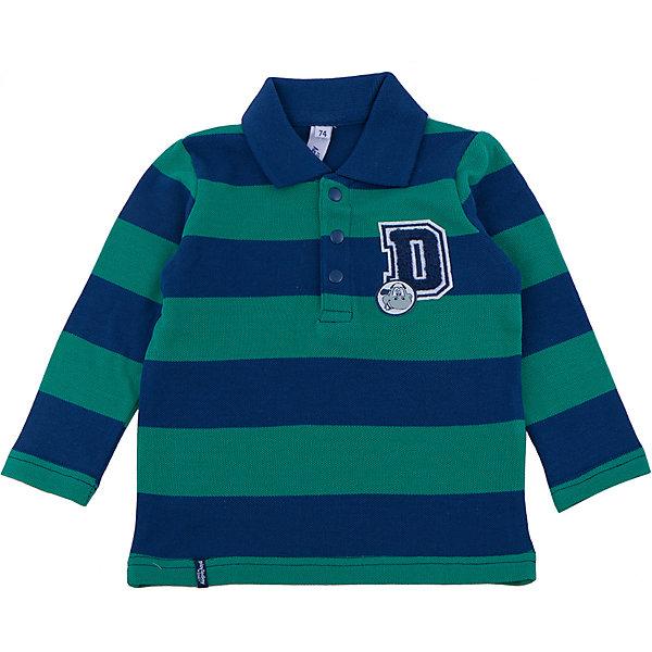 Футболка для мальчика PlayTodayФутболки, топы<br>Футболка для мальчика от известного бренда PlayToday.<br>Стильная футболка-поло с длинными рукавами. Рисунок в изумрудно-зеленую и темно-синюю полоску. Украшена петельной 3D-вышивкой. Застегивается на 3 кнопки на воротнике.<br>Состав:<br>95% хлопок, 5% эластан<br>Ширина мм: 157; Глубина мм: 13; Высота мм: 119; Вес г: 200; Цвет: белый; Возраст от месяцев: 6; Возраст до месяцев: 9; Пол: Мужской; Возраст: Детский; Размер: 74,86,80,92; SKU: 4900384;