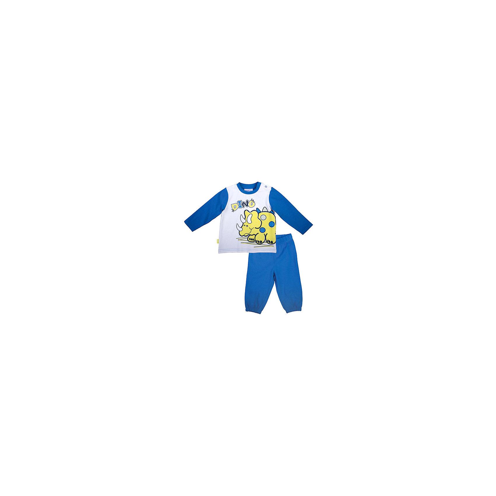 Комплект: футболка с длинным рукавом и брюки для мальчика PlayTodayКомплекты<br>Комплект: футболка с длинным рукавом и брюки для мальчика от известного бренда PlayToday.<br>Комплект из футболки с длинными рукавами и брюк. Футболка украшена ярким водным принтом с забавным динозавриком. Застегивается на кнопки на плече. Пояс и низ штанишек на резинке.<br>Состав:<br>95% хлопок, 5% эластан<br><br>Ширина мм: 157<br>Глубина мм: 13<br>Высота мм: 119<br>Вес г: 200<br>Цвет: синий<br>Возраст от месяцев: 18<br>Возраст до месяцев: 24<br>Пол: Мужской<br>Возраст: Детский<br>Размер: 80,86,92,74<br>SKU: 4900413