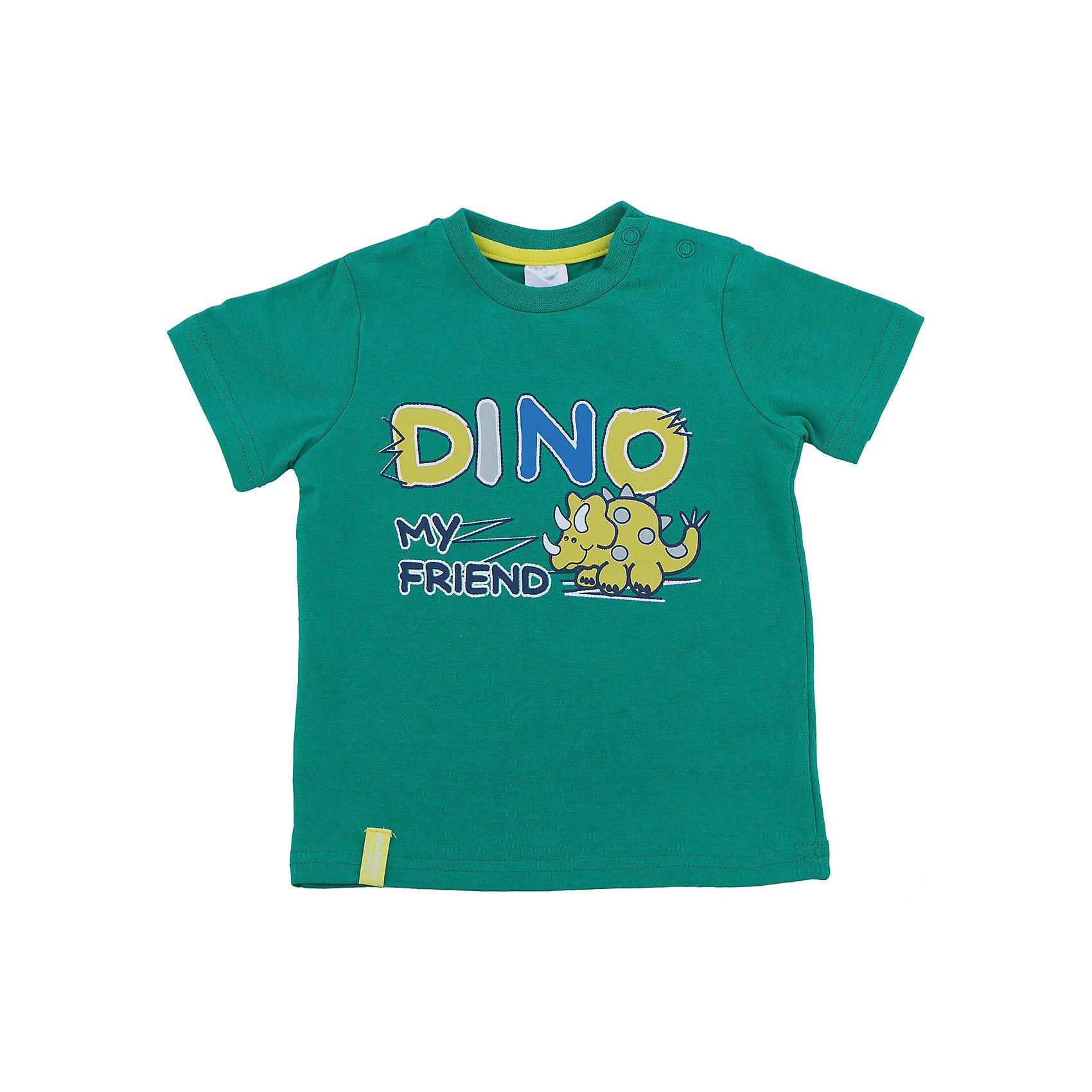 Футболка для мальчика PlayTodayФутболки, топы<br>Футболка для мальчика от известного бренда PlayToday.<br>Яркая хлопковая футболка с короткими рукавами. Украшена принтом с забавным динозавриком. Застегивается на кнопки на плече, чтобы ее удобно было надевать и снимать.<br>Состав:<br>95% хлопок, 5% эластан<br><br>Ширина мм: 157<br>Глубина мм: 13<br>Высота мм: 119<br>Вес г: 200<br>Цвет: зеленый<br>Возраст от месяцев: 6<br>Возраст до месяцев: 9<br>Пол: Мужской<br>Возраст: Детский<br>Размер: 74,86,92,80<br>SKU: 4900418