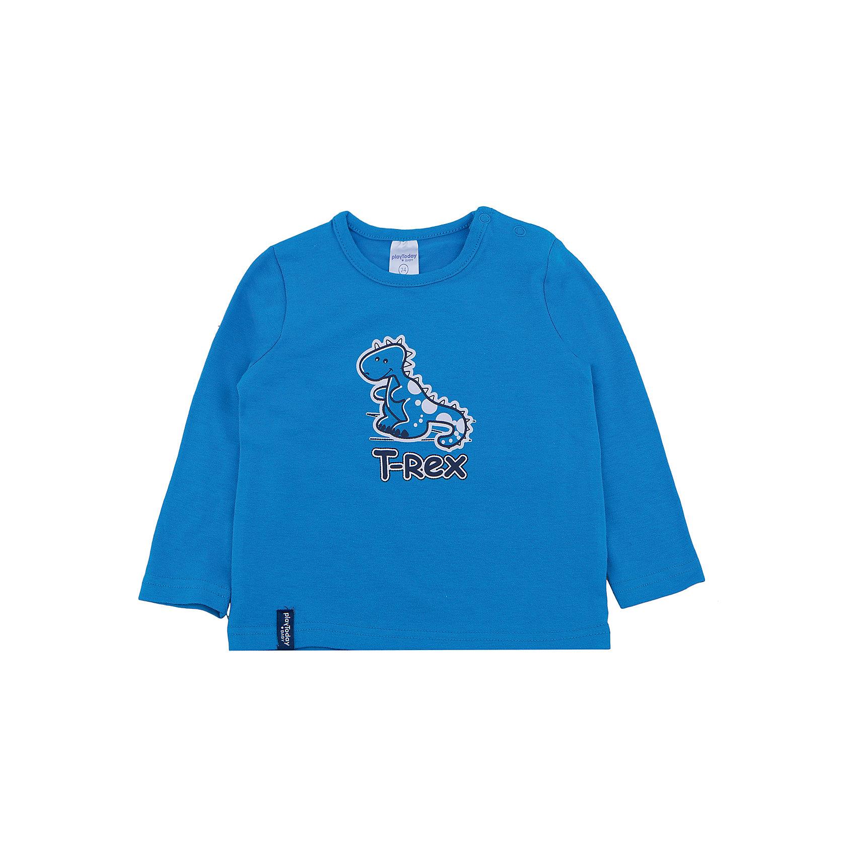 Футболка с длинным рукавом для мальчика PlayTodayФутболка с длинным рукавом для мальчика от известного бренда PlayToday.<br>Яркая базовая футболка с длинными рукавами. Украшена принтом с забавным динозавриком. Застегивается на кнопки на плече, чтобы ее удобно было надевать и снимать.<br>Состав:<br>95% хлопок, 5% эластан<br><br>Ширина мм: 157<br>Глубина мм: 13<br>Высота мм: 119<br>Вес г: 200<br>Цвет: синий<br>Возраст от месяцев: 6<br>Возраст до месяцев: 9<br>Пол: Мужской<br>Возраст: Детский<br>Размер: 74,86,80,92<br>SKU: 4900428