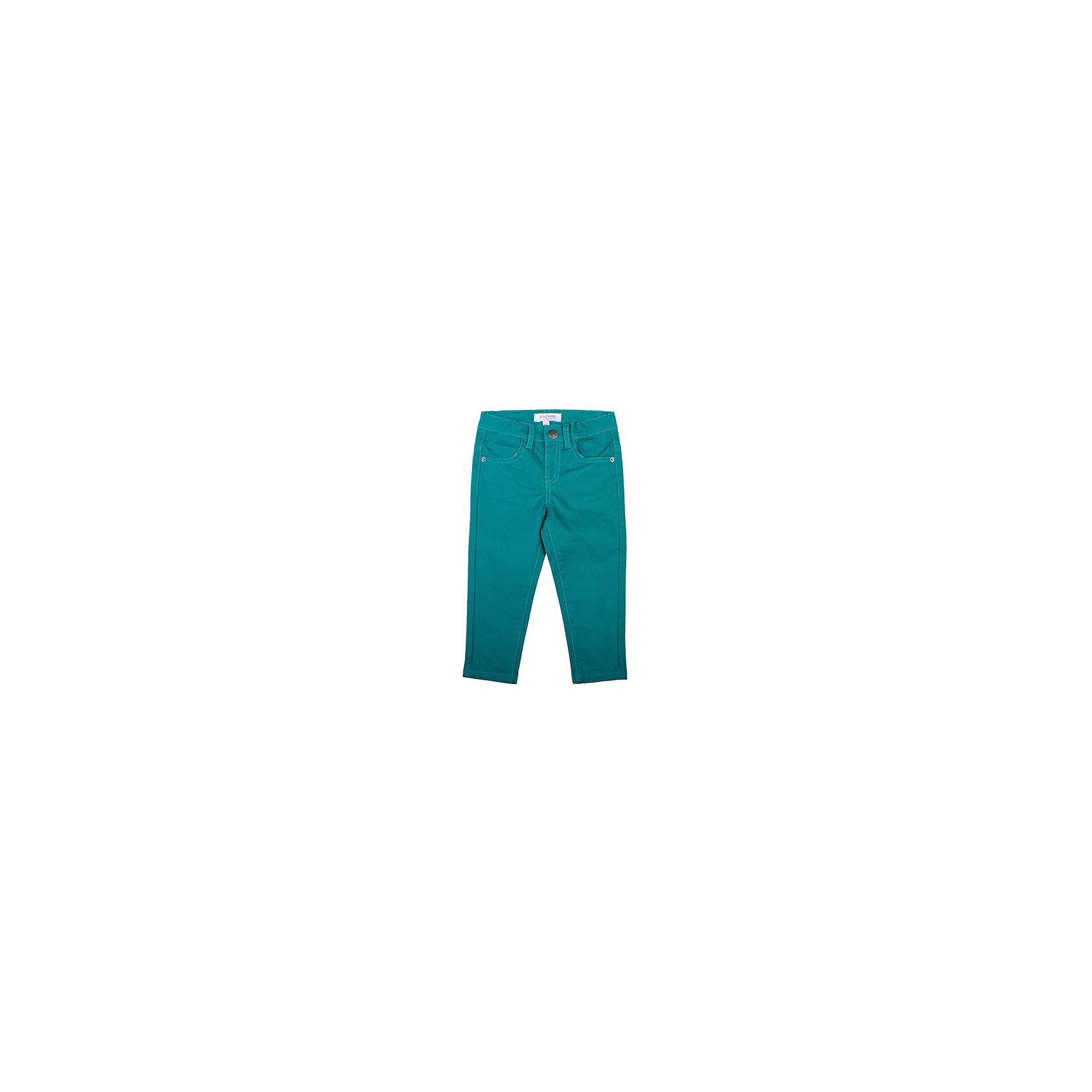 Брюки для мальчика PlayTodayДжинсы и брючки<br>Брюки для мальчика от известного бренда PlayToday.<br>Стильные брюки зауженного кроя. Оригинальный оттенок - темная бирюза. Застегиваются на кнопку. Есть шлевки для ремня и 4 функциональных кармана.<br>Состав:<br>98% хлопок, 2% эластан<br><br>Ширина мм: 157<br>Глубина мм: 13<br>Высота мм: 119<br>Вес г: 200<br>Цвет: зеленый<br>Возраст от месяцев: 18<br>Возраст до месяцев: 24<br>Пол: Мужской<br>Возраст: Детский<br>Размер: 92,80,74,86<br>SKU: 4900456