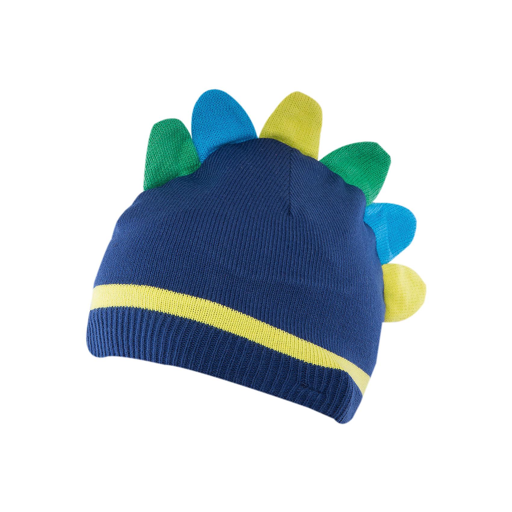 Шапка для мальчика PlayTodayШапка для мальчика от известного бренда PlayToday.<br>Стильная шапка из уютного вязаного трикотажа. Однослойная. Украшена очень забавным гребнем, как у динозаврика. Есть удобные завязки.<br>Состав:<br>Верх: 60% хлопок, 40% акрил, подкладка: 60% хлопок, 40% акрил<br><br>Ширина мм: 157<br>Глубина мм: 13<br>Высота мм: 119<br>Вес г: 200<br>Цвет: синий<br>Возраст от месяцев: 18<br>Возраст до месяцев: 36<br>Пол: Мужской<br>Возраст: Детский<br>Размер: 48,46<br>SKU: 4900506