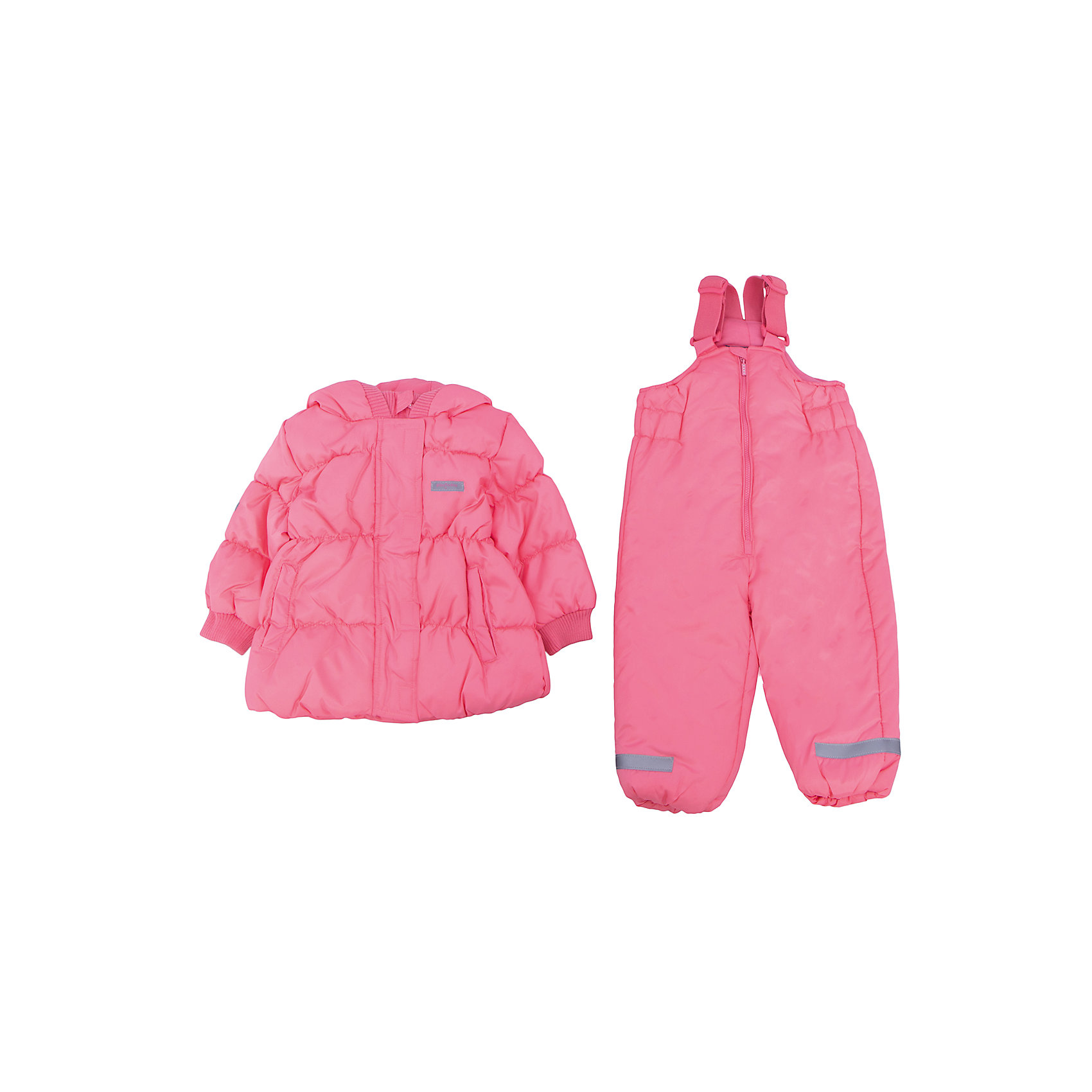 Комплект: куртка и полукомбинезон для девочки PlayTodayВерхняя одежда<br>Комплект: куртка и полукомбинезон для девочки от известного бренда PlayToday.<br>Теплый комплект из стеганой куртки и полукомбинезона нежно-кораллового цвета. <br>Куртка застегивается на молнию с защитой подбородка, есть ветрозащитная планка на липучках, как на спортивной одежде. Внутри уютная хлопковая подкладка. Капюшон, воротник и рукава на мягкой трикотажной резинке для защиты от ветра. Есть два функциональных кармана и светоотражатели.<br>Полукомбинезон застегивается на молнию, пуллер украшен сверкающими стразами. Бретели регулируются по длине, низ штанишек на резинке. Внутри<br>Состав:<br>Верх: 100% полиэстер, подкладка: 60% хлопок, 40% полиэстер, наполнитель: 100% полиэстер, 250 г/м2<br><br>Ширина мм: 157<br>Глубина мм: 13<br>Высота мм: 119<br>Вес г: 200<br>Цвет: розовый<br>Возраст от месяцев: 12<br>Возраст до месяцев: 15<br>Пол: Женский<br>Возраст: Детский<br>Размер: 80,92,74,86<br>SKU: 4900514