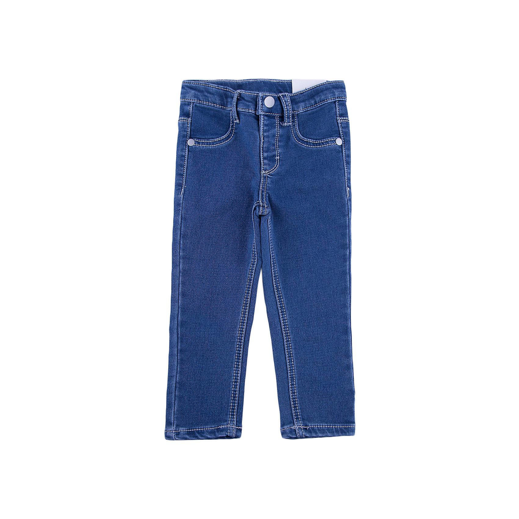 Брюки для девочки PlayTodayБрюки для девочки от известного бренда PlayToday.<br>Стильные брюки из футера с имитацией денима. Застегиваются на кнопку. Пояс эластичный, есть шлевки для ремня. Спереди имитация кармашков, сзади два функциональных кармана с вышивкой.<br>Состав:<br>78% хлопок, 20% полиэстер, 2% эластан<br><br>Ширина мм: 157<br>Глубина мм: 13<br>Высота мм: 119<br>Вес г: 200<br>Цвет: синий<br>Возраст от месяцев: 6<br>Возраст до месяцев: 9<br>Пол: Женский<br>Возраст: Детский<br>Размер: 74,92,80,86<br>SKU: 4900539