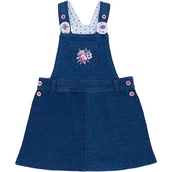 Сарафан джинсовый для девочки PlayTodayДжинсовая одежда<br>Сарафан для девочки от известного бренда PlayToday.<br>Стильный сарафан из футера с имитацией денима. Есть шлевки для ремня, бретели регулируются по длине и застегиваются на блестящие розовые пуговицы. На груди есть маленький кармашек с нежной цветочной вышивкой.<br>Состав:<br>95% хлопок, 5% эластан<br><br>Ширина мм: 157<br>Глубина мм: 13<br>Высота мм: 119<br>Вес г: 200<br>Цвет: синий<br>Возраст от месяцев: 6<br>Возраст до месяцев: 9<br>Пол: Женский<br>Возраст: Детский<br>Размер: 74,86,80,92<br>SKU: 4900574