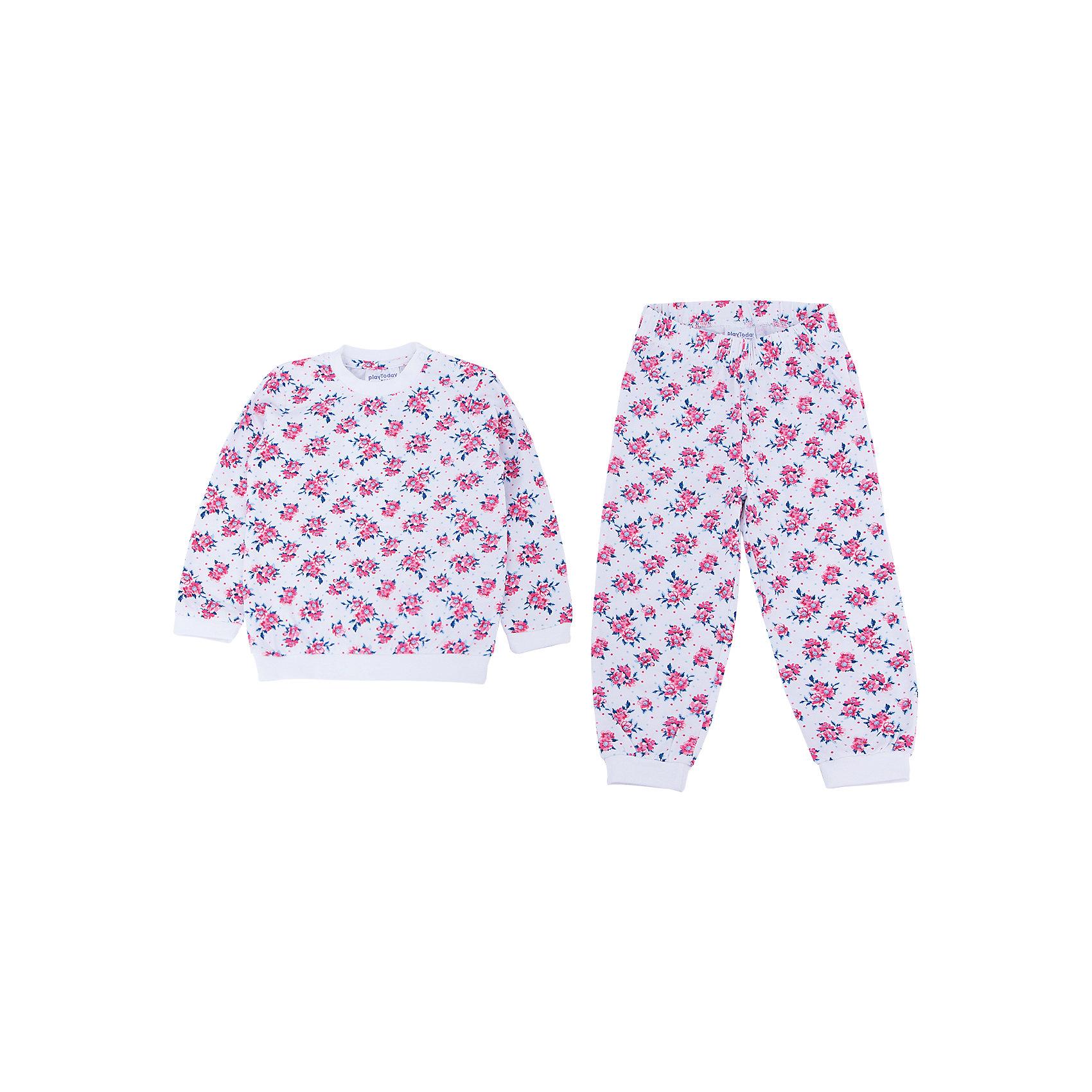 Пижама для девочки PlayTodayПижамы для малышей<br>Пижама для девочки от известного бренда PlayToday.<br>Уютный хлопковый комплект из футболки с длинными рукавами и брюк в нежный цветочек.<br>Рукава и низ толстовки на мягкой трикотажной резинке. Застегивается на кнопки на плече, чтобы ее удобно было снимать. <br>Пояс и низ брюк на резинке.<br>Состав:<br>95% хлопок, 5% эластан<br><br>Ширина мм: 157<br>Глубина мм: 13<br>Высота мм: 119<br>Вес г: 200<br>Цвет: розовый<br>Возраст от месяцев: 6<br>Возраст до месяцев: 9<br>Пол: Женский<br>Возраст: Детский<br>Размер: 74,80,86,92<br>SKU: 4900613