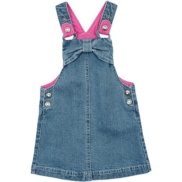 Сарафан джинсовый для девочки PlayTodayДжинсовая одежда<br>Сарафан для девочки от известного бренда PlayToday.<br>Стильный джинсовый сарафан. Удобно застегивается на пуговицы по бокам. Есть стильные потертости. Верх декорирован бантиком и стразами, бретели на пуговицах.<br>Состав:<br>98% хлопок, 2% эластан<br><br>Ширина мм: 157<br>Глубина мм: 13<br>Высота мм: 119<br>Вес г: 200<br>Цвет: синий<br>Возраст от месяцев: 6<br>Возраст до месяцев: 9<br>Пол: Женский<br>Возраст: Детский<br>Размер: 74,92,80,86<br>SKU: 4900716