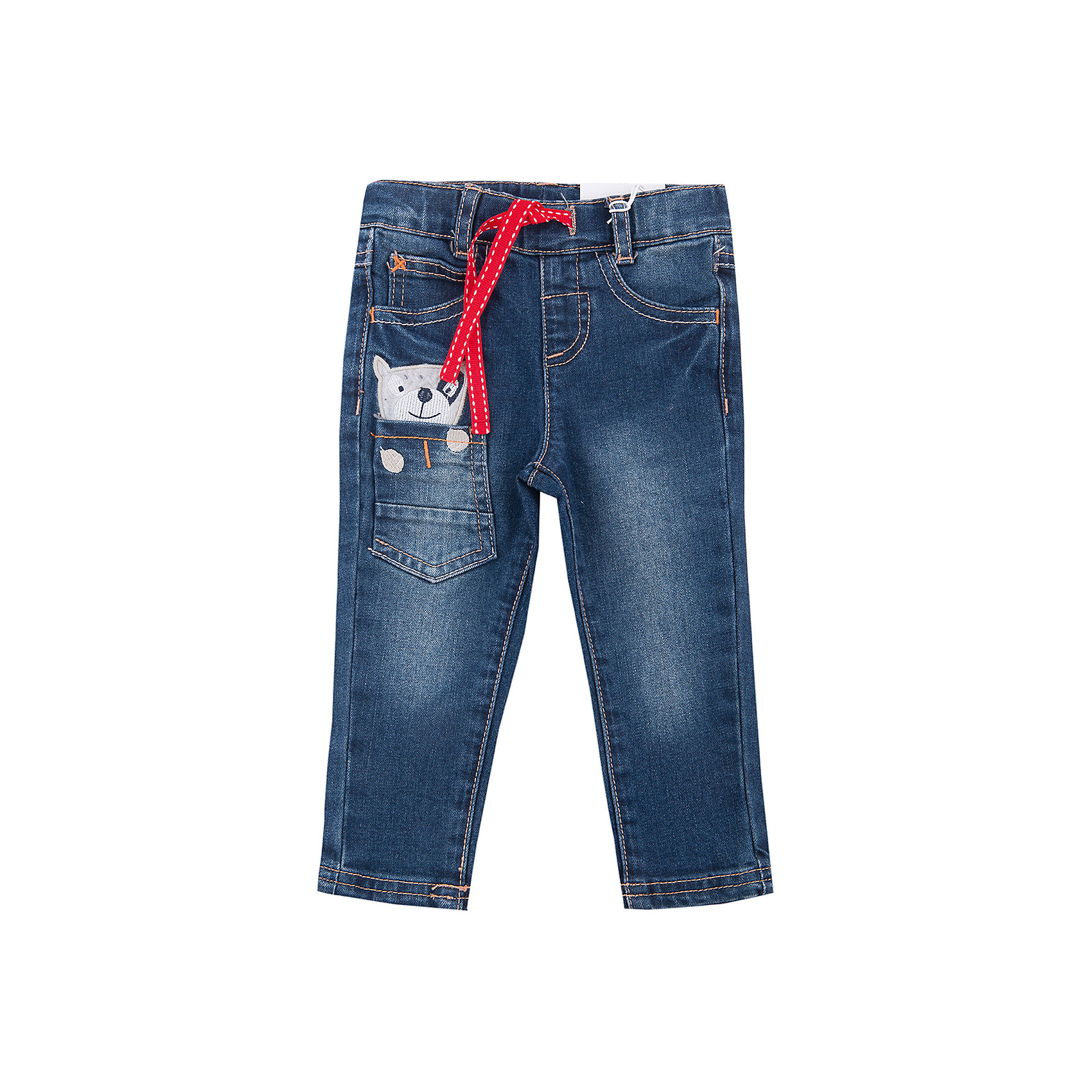 Брюки для мальчика PlayTodayБрюки для мальчика от известного бренда PlayToday.<br>Стильные джинсы с модными потертостями. Классическая пятикарманка + 1 кармашек, украшенный забавной вышивкой, будто из него выглядывает маленькая собачка. Пояс на резинке, дополнительно регулируется шнурком, есть шлевки для ремня.<br>Состав:<br>75% хлопок, 23% полиэстер, 2% эластан<br><br>Ширина мм: 157<br>Глубина мм: 13<br>Высота мм: 119<br>Вес г: 200<br>Цвет: синий<br>Возраст от месяцев: 6<br>Возраст до месяцев: 9<br>Пол: Мужской<br>Возраст: Детский<br>Размер: 92,74,80,86<br>SKU: 4900941