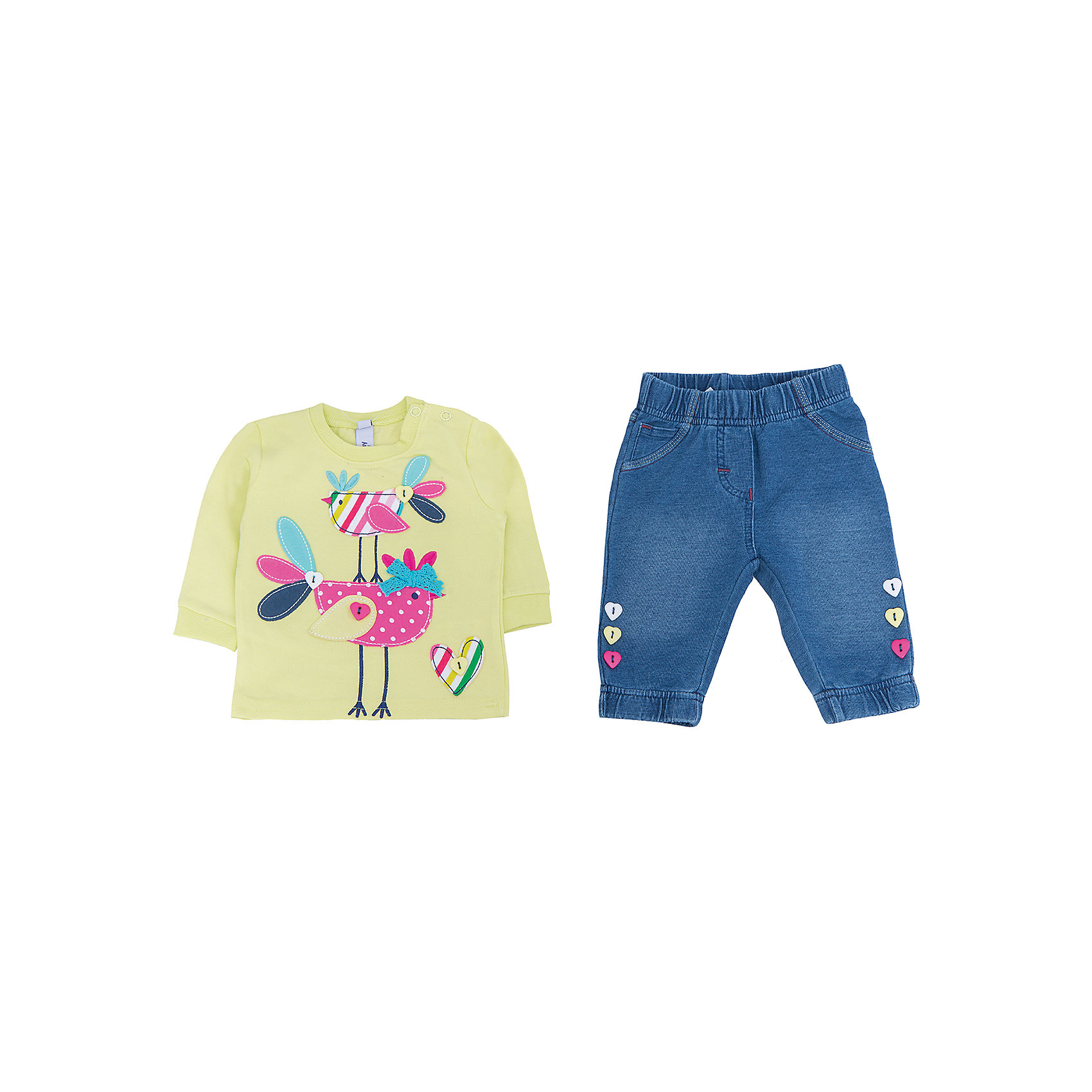 Комплект: толстовка и брюки для девочки PlayTodayКомплекты<br>Комплект: толстовка и брюки для девочки от известного бренда PlayToday.<br>Комплект из толстовки с длинными рукавами и брюк. <br>Толстовка салатового цвета украшена ярким принтом с птичками. Рукава и воротник на мягкой трикотажной резинке.<br>Брюки из футера с имитацией денима. Пояс на резинке, есть 5 кармашков. Низ штанишек на резинке. Украшены декоративными пуговками.<br>Состав:<br>95% хлопок, 5% эластан<br><br>Ширина мм: 157<br>Глубина мм: 13<br>Высота мм: 119<br>Вес г: 200<br>Цвет: разноцветный<br>Возраст от месяцев: 0<br>Возраст до месяцев: 3<br>Пол: Женский<br>Возраст: Детский<br>Размер: 56,74,62,68<br>SKU: 4901092