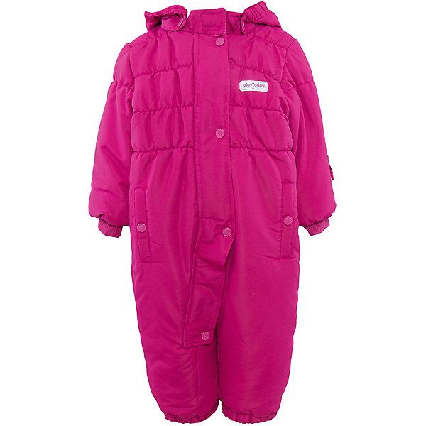 Комбинезон для девочки PlayTodayВерхняя одежда<br>Комбинезон для девочки от известного бренда PlayToday.<br>Уютный теплый комбинезон с капюшоном. Яркий цвет поднимет настроение и согреет в холодную погоду.<br>Внутри мягкая стеганая велюровая подкладка. Застегивается на молнию, есть ветрозащитная планка на кнопках, как на спортивной одежде. Капюшон удобно отстегивается. Воротник на липучке. Рукава и низ штанишек на резинке, есть два функциональных кармашка на кнопках. Специальная резинка на пуговицах позволяет закреплять комбинезон под обувью.<br>Состав:<br>Верх: 100% полиэстер, подкладка: 80% хлопок, 20% полиэстер, Утеплитель 100% полиэстер, 300 г/м2<br><br>Ширина мм: 157<br>Глубина мм: 13<br>Высота мм: 119<br>Вес г: 200<br>Цвет: розовый<br>Возраст от месяцев: 6<br>Возраст до месяцев: 9<br>Пол: Женский<br>Возраст: Детский<br>Размер: 74,80,92,86<br>SKU: 4901206