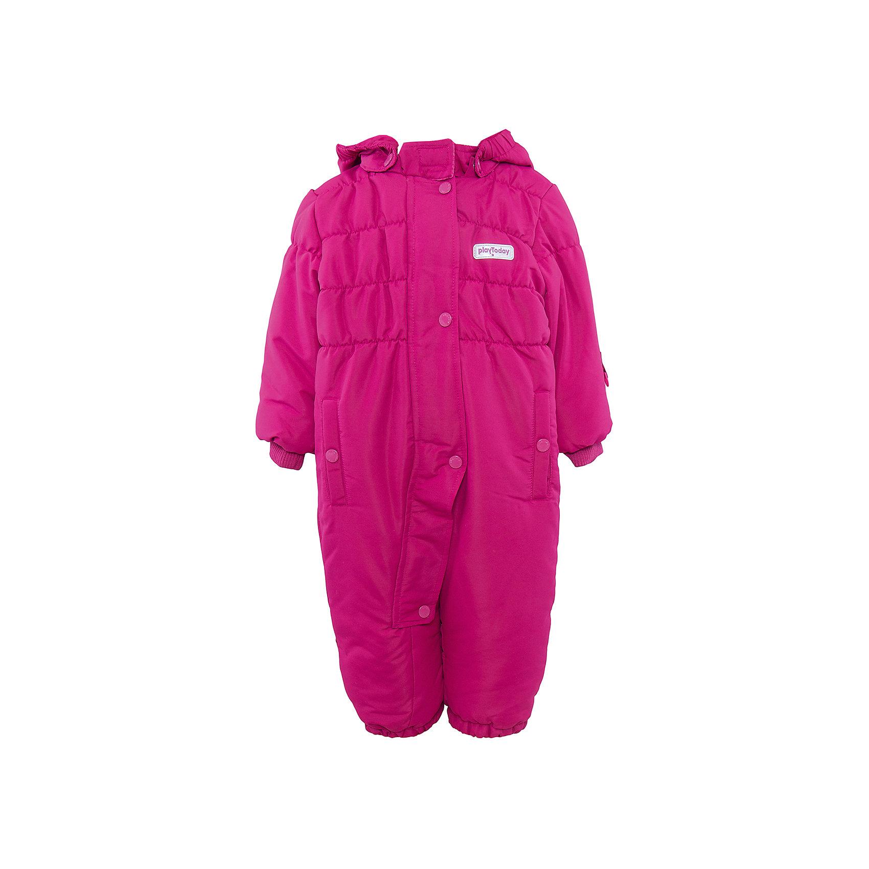 Комбинезон для девочки PlayTodayВерхняя одежда<br>Комбинезон для девочки от известного бренда PlayToday.<br>Уютный теплый комбинезон с капюшоном. Яркий цвет поднимет настроение и согреет в холодную погоду.<br>Внутри мягкая стеганая велюровая подкладка. Застегивается на молнию, есть ветрозащитная планка на кнопках, как на спортивной одежде. Капюшон удобно отстегивается. Воротник на липучке. Рукава и низ штанишек на резинке, есть два функциональных кармашка на кнопках. Специальная резинка на пуговицах позволяет закреплять комбинезон под обувью.<br>Состав:<br>Верх: 100% полиэстер, подкладка: 80% хлопок, 20% полиэстер, Утеплитель 100% полиэстер, 300 г/м2<br><br>Ширина мм: 157<br>Глубина мм: 13<br>Высота мм: 119<br>Вес г: 200<br>Цвет: малиновый<br>Возраст от месяцев: 6<br>Возраст до месяцев: 9<br>Пол: Женский<br>Возраст: Детский<br>Размер: 74,80,86,92<br>SKU: 4901206