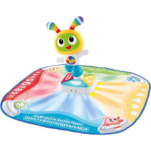 Танцевальный коврик Робота Бибо, Fisher PriceИнтерактивные игрушки для малышей<br>Танцевальный коврик Робота Бибо, Fisher Price<br>Интерактивный танцевальный коврик Робота Бибо от Fisher Price (Фишер-Прайс) объединяет в себе игру и обучение. Два встроенных режима позволяют выбрать тип игры - Двигайся и играй или Танцуй и учись.  Когда малыш двигается и танцует на коврике, коврик хвалит его старания цветными яркими световыми эффектами, музыкой, песнями, звуками и словами. Коврик может учить счету, алфавиту, формам, цветам и танцевальным движениям. Чтобы активировать процесс обучения и включить интерактивные световые элементы нужно нажать ладошкой на Робота Бибо или нажать на любую из четырех подсвеченных кнопок у основания. Режим «Танцуй и учись» подсказывая малышу направление, дает веселые советы.<br>Характеристики:<br>- 2 режима: двигайся и играй, танцуй и учись<br>- Яркие привлекательные элементы развивают интеллектуальное развитие и сенсорное восприятие<br>- Малыш при помощи световых элементов и воспроизведения звуковых сигналов учится воспроизводить причинно-следственные связи <br>- Общая двигательная активность и крупная моторика развиваются при игре с ковриком<br>Дополнительная информация:<br>- В комплекте: танцевальный коврик <br>- Материалы: пластик<br>Танцевальный коврик Робота Бибо, Fisher Price можно купить в нашем магазине.<br>Подробнее:<br>Для детей в возрасте: от 9 до 36 месяцев<br>Номер товара: 4901836<br><br>Ширина мм: 115<br>Глубина мм: 560<br>Высота мм: 405<br>Вес г: 1254<br>Возраст от месяцев: 9<br>Возраст до месяцев: 36<br>Пол: Унисекс<br>Возраст: Детский<br>SKU: 4901836