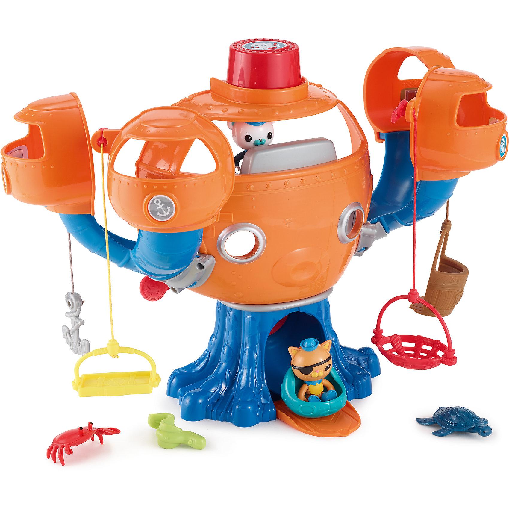 Подводная база «Октопод», ОктонавтыИгровые наборы<br>Подводная База «ОКТОПОД»<br>Игрушка Подводная База «ОКТОПОД» - отличный способ провести время с приключениями среди любимой команды октонавтов.<br>Октонавты – это команда из восьми отважных исследователей морских глубин, которые живут на подводной базе – Октопод с разнообразным флотом водных машин. Октонавты всегда торопятся на помощь, как только в морских глубинах случаются неприятности. В свободное от борьбы с опасностями время храбрая восьмерка встречается с водными обитателями и познает тайные уголки подводного мира.<br>Главные герои – медведь Капитан Барнаклс, кот Лейтенант Квази и пингвин Медик Песо <br>Капитан Барнаклс и Лейтенант Квази получают новое задание! Звучит осьминожья тревога! Октонавты, в полную готовность! Пришло время отправиться Барнаклсу и Квази на новую миссию! Спускай октонавтов по трубе из своих отсеков прямо на посадочную платформу. Помести Барнаклса или Квази в лодку, поворачивай рычаг чтобы выпустить машину из подводной базы. Спасай попавших в беду персонажей, пользуясь спасательными приспособлениями, просто поднимай и опускай их! Благодаря Подводной Базе «ОКТОПОТ» у детей появится отличная возможность каждый день участвовать в новых приключениях и миссиях.<br>Яркая интерактивная игрушка с голосовыми и звуковыми сигналами понравитс всем поклонникам Октонавтов. Она привлекает своей подвижностью, многие отсеки вынимаются и закрываются и легко вставляются обратно, интересная система спуска превратит игру в еще больший праздник. Яркие наклейки систем базы Октопод совпадают с системой в мольсериале.<br>Дополнительная информация:<br>- В комплекте базы «Октопод»: 10 элементов, включающих Барнаклса, Квази, маленькую подводную лодку, 3х персонажей, 4 спасательных приспособления и съемную окто-сигнализацию с голосовыми и звуковыми сигналами.<br>- Материал: пластик<br>- Высота: 33 см<br>- ширина 51 см<br>- глубина 14,5 см<br>- необходимы три батарейки типа LR44 (входят в комплект)<br><br>Подробнее