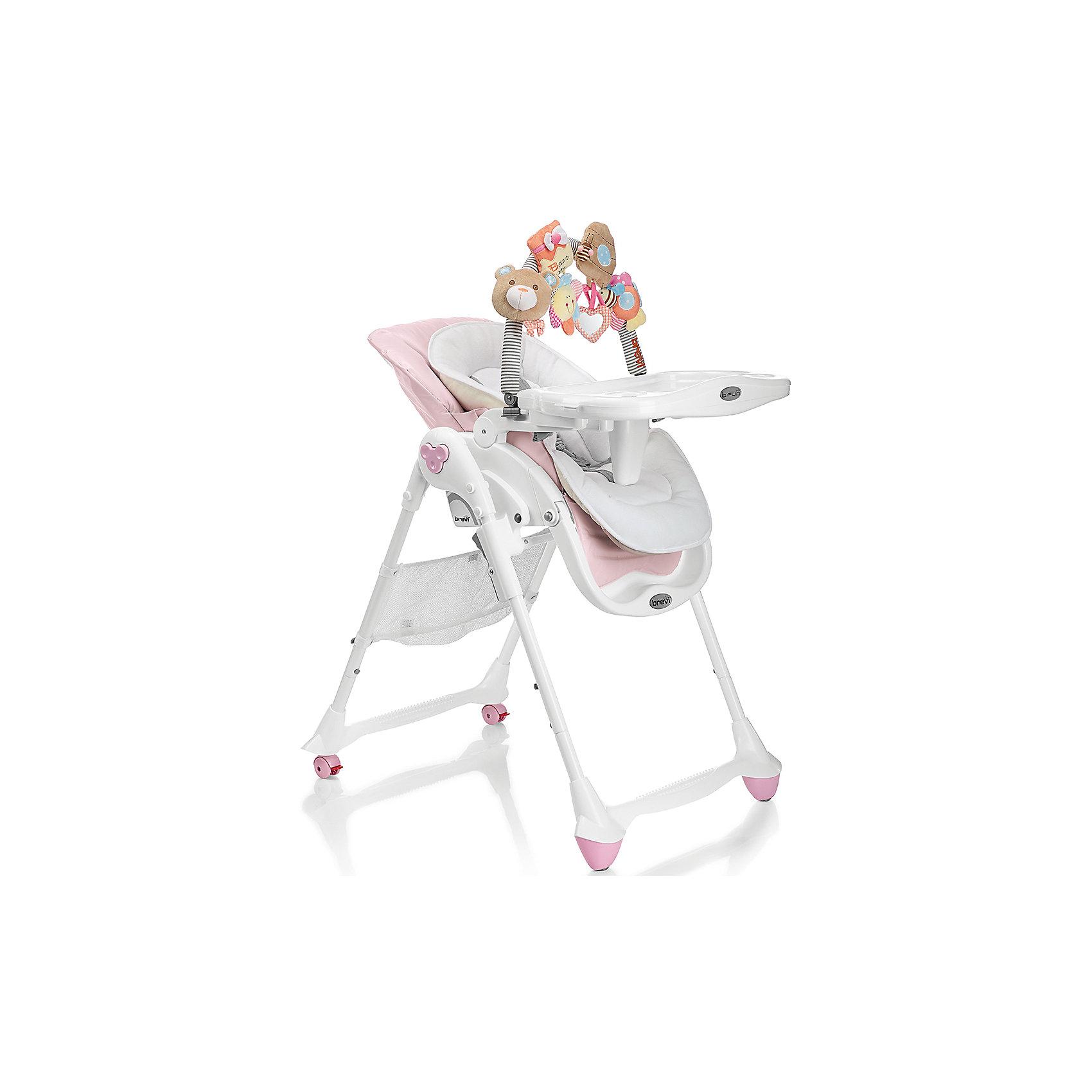 Стульчик для кормления B-Fun, Brevi, розовыйB-Fun, Brevi (брэви) – удобный стульчик для кормления ребенка. Особенность этого стульчика в трех положениях наклона спинки, включая горизонтальное. Благодаря этому, стульчик можно использовать в качестве шезлонга уже с рождения. Имеет 3 положения регулировки подножки, съемный поддон с двумя углублениями для стаканов или бутылочек, который легко снимается и крепится сзади стульчика, регулируемые по росту ребенка ремни безопасности.  Задние колеса с фиксаторами для удобства перемещения по квартире.  Стульчик изготовлен из натуральных тканей, легко моется и занимает мало места в собранном виде.  В комплекте имеется съемная регулируемая дуга с игрушками: лодочка, автобус с кроликом, издающим звуки, домик с погремушкой, полоска со звуковым эффектом. Такой стульчик станет лучшим выбором для малыша.<br>Особенности и преимущества:<br>-стульчик можно использовать с рождения<br>-3 положения спинки<br>-углубления для стаканов и бутылочек<br>-дуга с игрушками для развития малыша<br>Размеры: 90x82x62 см<br>Вес: 11,8 кг<br>Вы можете приобрести стульчик для кормления B-Fun в нашем интернет-магазине.<br><br>Ширина мм: 900<br>Глубина мм: 620<br>Высота мм: 530<br>Вес г: 11800<br>Возраст от месяцев: 0<br>Возраст до месяцев: 36<br>Пол: Женский<br>Возраст: Детский<br>SKU: 4902079