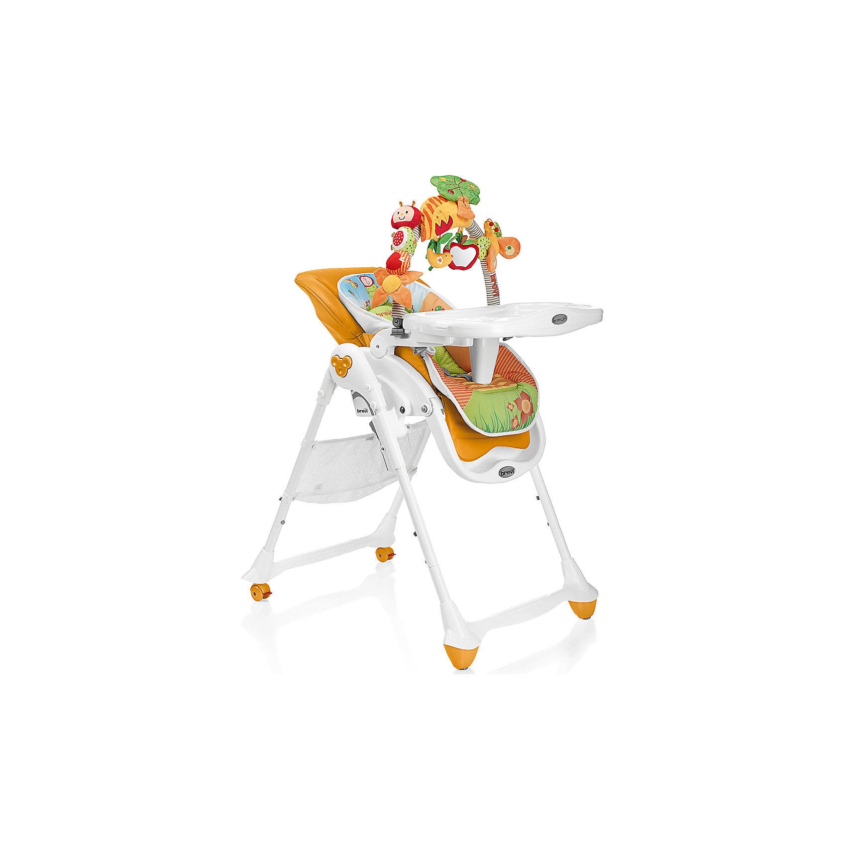 Стульчик для кормления B-Fun, Brevi, оранжевыйот рождения<br>B-Fun, Brevi (брэви) – удобный стульчик для кормления ребенка. Особенность этого стульчика в трех положениях наклона спинки, включая горизонтальное. Благодаря этому, стульчик можно использовать в качестве шезлонга уже с рождения. Имеет 3 положения регулировки подножки, съемный поддон с двумя углублениями для стаканов или бутылочек, который легко снимается и крепится сзади стульчика, регулируемые по росту ребенка ремни безопасности.  Задние колеса с фиксаторами для удобства перемещения по квартире.  Стульчик изготовлен из натуральных тканей, легко моется и занимает мало места в собранном виде.  В комплекте имеется съемная регулируемая дуга с игрушками: лодочка, автобус с кроликом, издающим звуки, домик с погремушкой, полоска со звуковым эффектом. Такой стульчик станет лучшим выбором для малыша.<br>Особенности и преимущества:<br>-стульчик можно использовать с рождения<br>-3 положения спинки<br>-углубления для стаканов и бутылочек<br>-дуга с игрушками для развития малыша<br>Размеры: 90x82x62 см<br>Вес: 11,8 кг<br>Вы можете приобрести стульчик для кормления B-Fun в нашем интернет-магазине.<br><br>Ширина мм: 690<br>Глубина мм: 565<br>Высота мм: 315<br>Вес г: 11800<br>Возраст от месяцев: 0<br>Возраст до месяцев: 36<br>Пол: Унисекс<br>Возраст: Детский<br>SKU: 4902080