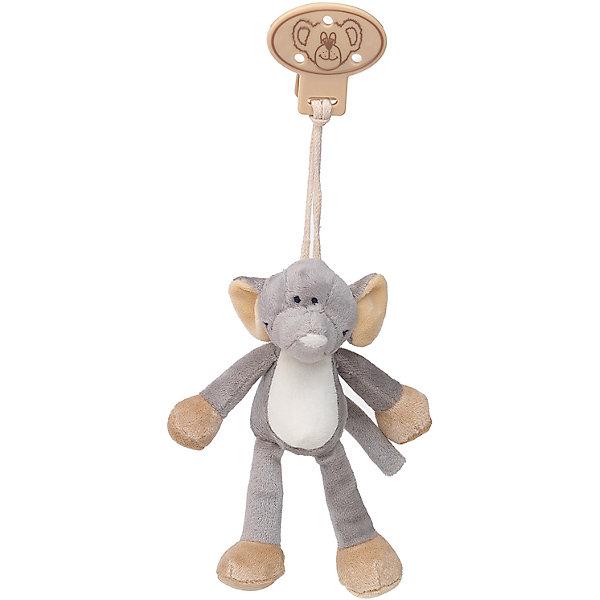 Клипса с игрушкой Слон, Динглисар, TeddykompanietПустышки<br>Клипса с игрушкой Слон, Динглисар, Teddykompaniet (Тэдди и компания) – дружелюбный слоненок развеселит малыша и не позволит ему скучать.<br>Клипса с мягкой игрушкой Слон от шведской компании Teddykompaniet очаровательна и неповторима. Милый слоненок станет первым другом вашего малыша и всегда будет рядом. С помощью надежной безопасной пластиковой клипсы игрушку можно прикрепить к кроватке, коляске, автокреслу и одежде или постельному белью. Игрушка изготовлена из мягкого безворсового велюра, грязе- и пылеотталкивающего, соответствует европейским и российским стандартам качества, что позволяет играть с ней детям, склонным к аллергии.<br><br>Дополнительная информация:<br><br>- Размер: 16 см.<br>- Материал: нежный безворсовый велюр, пластик<br>- Уход: ручная стирка<br><br>Клипсу с игрушкой Слон, Динглисар, Teddykompaniet (Тэдди и компания) можно купить в нашем интернет-магазине.<br><br>Ширина мм: 50<br>Глубина мм: 100<br>Высота мм: 100<br>Вес г: 180<br>Возраст от месяцев: 0<br>Возраст до месяцев: 12<br>Пол: Унисекс<br>Возраст: Детский<br>SKU: 4902220