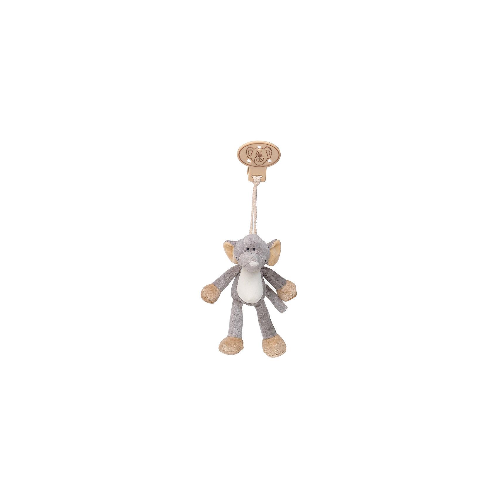 Клипса с игрушкой Слон, Динглисар, TeddykompanietПустышки и аксессуары<br>Клипса с игрушкой Слон, Динглисар, Teddykompaniet (Тэдди и компания) – дружелюбный слоненок развеселит малыша и не позволит ему скучать.<br>Клипса с мягкой игрушкой Слон от шведской компании Teddykompaniet очаровательна и неповторима. Милый слоненок станет первым другом вашего малыша и всегда будет рядом. С помощью надежной безопасной пластиковой клипсы игрушку можно прикрепить к кроватке, коляске, автокреслу и одежде или постельному белью. Игрушка изготовлена из мягкого безворсового велюра, грязе- и пылеотталкивающего, соответствует европейским и российским стандартам качества, что позволяет играть с ней детям, склонным к аллергии.<br><br>Дополнительная информация:<br><br>- Размер: 16 см.<br>- Материал: нежный безворсовый велюр, пластик<br>- Уход: ручная стирка<br><br>Клипсу с игрушкой Слон, Динглисар, Teddykompaniet (Тэдди и компания) можно купить в нашем интернет-магазине.<br><br>Ширина мм: 50<br>Глубина мм: 100<br>Высота мм: 100<br>Вес г: 180<br>Возраст от месяцев: 0<br>Возраст до месяцев: 12<br>Пол: Унисекс<br>Возраст: Детский<br>SKU: 4902220