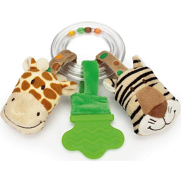 Погремушка-прорезыватель Жираф и Тигр, Динглисар, TeddykompanietПустышки<br>Погремушка-прорезыватель Жираф и Тигр, Динглисар, Teddykompaniet (Тэдди и компания) <br>Очаровательная погремушка-прорезыватель Жираф и тигр от шведской компании Teddykompaniet поможет малышу развить зрительное и слуховое восприятие, тактильные ощущения и координацию движений, а также пережить трудный период появления первых зубов. Пластиковое прозрачное кольцо, внутри которого перекатываются разноцветные шарики, выполняет функцию держателя. К кольцу крепятся на липучках две игрушки в виде головы тигренка и головы жирафа, а также рельефный прорезыватель. Внутри головы тигра находится шуршащий элемент, внутри головы жирафа спрятана пищалка. Благодаря липучкам, игрушки можно легко отстегнуть от кольца и играть отдельно. Товар полностью соответствует европейским и российским стандартам качества.<br><br>Дополнительная информация:<br><br>- Размер: 17 см.<br>- Материал: текстиль велюр, пластик<br><br>Погремушку-прорезыватель Жираф и Тигр, Динглисар, Teddykompaniet (Тэдди и компания) можно купить в нашем интернет-магазине.<br><br>Ширина мм: 100<br>Глубина мм: 100<br>Высота мм: 50<br>Вес г: 170<br>Возраст от месяцев: 6<br>Возраст до месяцев: 12<br>Пол: Унисекс<br>Возраст: Детский<br>SKU: 4902233