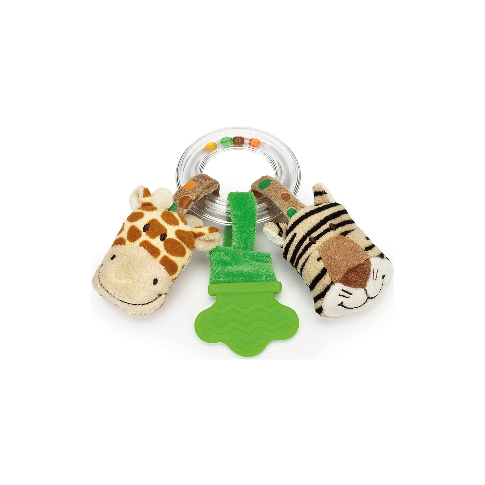 Погремушка-прорезыватель Жираф и Тигр, Динглисар, TeddykompanietПрорезыватели<br>Погремушка-прорезыватель Жираф и Тигр, Динглисар, Teddykompaniet (Тэдди и компания) <br>Очаровательная погремушка-прорезыватель Жираф и тигр от шведской компании Teddykompaniet поможет малышу развить зрительное и слуховое восприятие, тактильные ощущения и координацию движений, а также пережить трудный период появления первых зубов. Пластиковое прозрачное кольцо, внутри которого перекатываются разноцветные шарики, выполняет функцию держателя. К кольцу крепятся на липучках две игрушки в виде головы тигренка и головы жирафа, а также рельефный прорезыватель. Внутри головы тигра находится шуршащий элемент, внутри головы жирафа спрятана пищалка. Благодаря липучкам, игрушки можно легко отстегнуть от кольца и играть отдельно. Товар полностью соответствует европейским и российским стандартам качества.<br><br>Дополнительная информация:<br><br>- Размер: 17 см.<br>- Материал: текстиль велюр, пластик<br><br>Погремушку-прорезыватель Жираф и Тигр, Динглисар, Teddykompaniet (Тэдди и компания) можно купить в нашем интернет-магазине.<br><br>Ширина мм: 100<br>Глубина мм: 100<br>Высота мм: 50<br>Вес г: 170<br>Возраст от месяцев: 6<br>Возраст до месяцев: 12<br>Пол: Унисекс<br>Возраст: Детский<br>SKU: 4902233