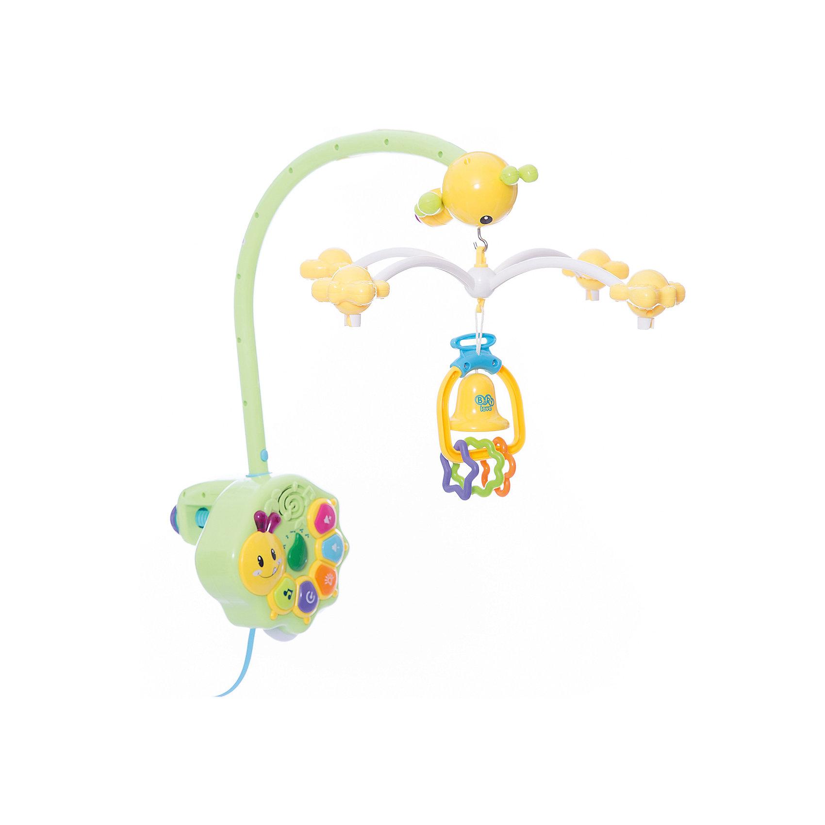 Детская игрушка Музыкальная карусельМузыкальная подвеска работает по принципу карусели и предназначена для крепления к детской кроватке. Все элементы подвески выполнены в ярких цветах, что привлечет внимание малыша, который с удовольствием будет наблюдать танец красочных бабочек и пчелок. На пчелке, во время вращения подвесных игрушек, загорается подсветка. Музыкальная подвеска будет способствовать развитию у Вашего малыша концентрации внимании, зрительного и звукового восприятия. Карусель выполнена из высококачественных материалов и украшена яркими подвесными игрушками. У изделия можно выбрать время исполнения мелодий (15, 30 и 60 минут) кнопку выбора одной из десяти мелодий, уровень громкости, режим ночника, отключения вращения подвесных игрушек. Для работы блока необходимы батарейки AА 4 шт., для пульта АА 2шт., (в комплект не входят).<br><br>Дополнительная информация: <br><br>- возраст: любой возраст<br>- пол: для мальчиков и девочек<br>- цвет: голубой, зеленый, оранжевый, желтый.<br>- тип батареек: на батарейках.<br>- материал: пластик.<br>- размер игрушки: 34 * 44 * 16 см.<br>- упаковка: картонная коробка блистерного типа.<br>- регулировка громкости: есть.<br><br>Детскую  игрушку  Музыкальная карусель можно купить в нашем интернет-магазине.<br><br>Ширина мм: 340<br>Глубина мм: 180<br>Высота мм: 430<br>Вес г: 1930<br>Возраст от месяцев: -2147483648<br>Возраст до месяцев: 2147483647<br>Пол: Унисекс<br>Возраст: Детский<br>SKU: 4904797