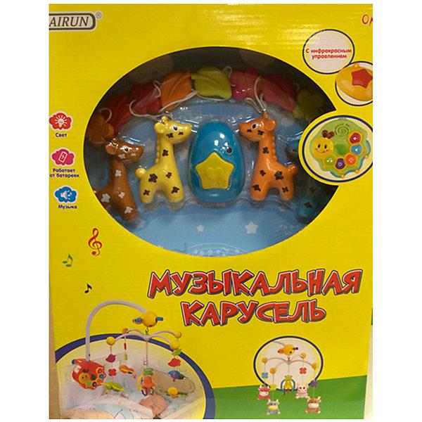 Детская игрушка Музыкальная карусельДетские музыкальные инструменты<br>Музыкальная подвеска работает по принципу карусели крепиться с  помощью специального зажима на детскую кроватку. В комплекте есть пульт управления в виде улитки, с его помощью можно включать и выключать ночник, мелодии, отрегулировать громкость. Также включается сама каруселька в виде веселых жирафиков, которые вращаются по своей оси. Все элементы выполнены в ярких цветах, что привлекает внимание малыша, способствует развитию его цветового восприятия.<br>Когда малыш подрастет, игрушки можно будет снять и использовать отдельно. Игрушка<br>работает от батареек: 4 * АА (не входят в комплект). <br><br>Дополнительная информация:<br> <br>- материал: пластик.<br>- упаковка: картонная коробка блистерного типа.<br>- регулировка громкости: есть.<br>- пол: для мальчиков и девочек<br>- тип батареек: на батарейках.<br><br>Детскую  игрушку Музыкальная карусель торговой марки Bairun можно купить в нашем интернет-магазине.<br>Ширина мм: 340; Глубина мм: 180; Высота мм: 430; Вес г: 1780; Возраст от месяцев: -2147483648; Возраст до месяцев: 2147483647; Пол: Унисекс; Возраст: Детский; SKU: 4904798;