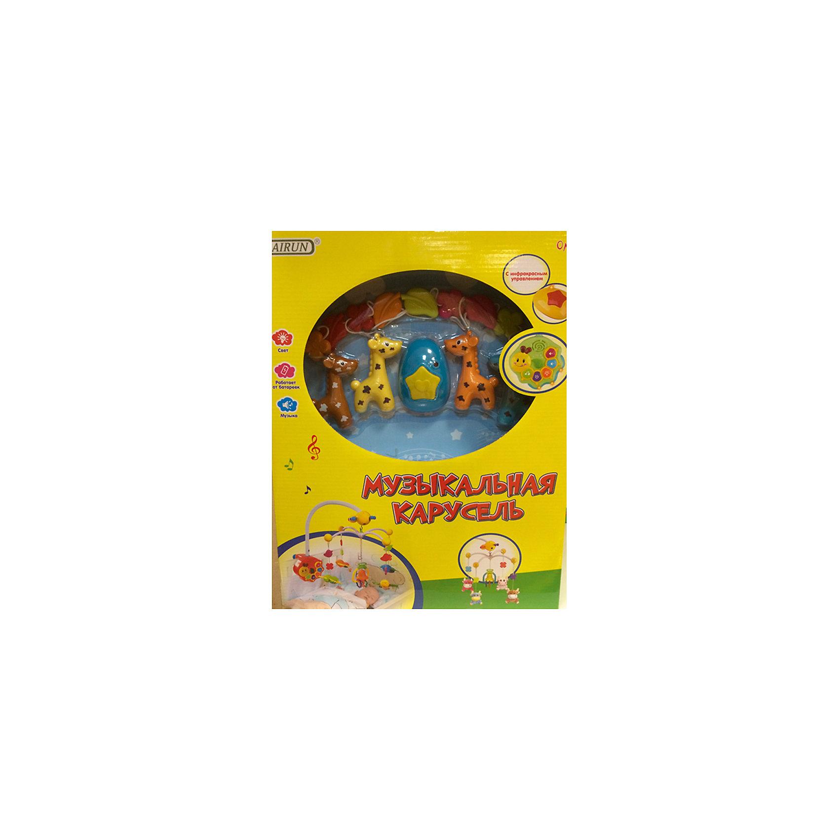 Детская игрушка Музыкальная карусельМузыкальные инструменты и игрушки<br>Музыкальная подвеска работает по принципу карусели крепиться с  помощью специального зажима на детскую кроватку. В комплекте есть пульт управления в виде улитки, с его помощью можно включать и выключать ночник, мелодии, отрегулировать громкость. Также включается сама каруселька в виде веселых жирафиков, которые вращаются по своей оси. Все элементы выполнены в ярких цветах, что привлекает внимание малыша, способствует развитию его цветового восприятия.<br>Когда малыш подрастет, игрушки можно будет снять и использовать отдельно. Игрушка<br>работает от батареек: 4 * АА (не входят в комплект). <br><br>Дополнительная информация:<br> <br>- материал: пластик.<br>- упаковка: картонная коробка блистерного типа.<br>- регулировка громкости: есть.<br>- пол: для мальчиков и девочек<br>- тип батареек: на батарейках.<br><br>Детскую  игрушку Музыкальная карусель торговой марки Bairun можно купить в нашем интернет-магазине.<br><br>Ширина мм: 340<br>Глубина мм: 180<br>Высота мм: 430<br>Вес г: 1780<br>Возраст от месяцев: -2147483648<br>Возраст до месяцев: 2147483647<br>Пол: Унисекс<br>Возраст: Детский<br>SKU: 4904798