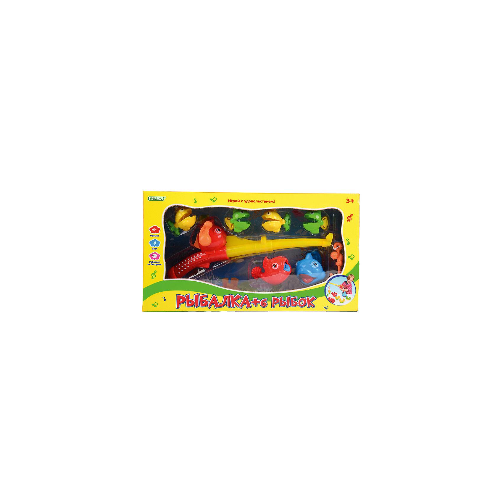 Детская игрушка Рыбалка + 6 рыбокДетская игрушка Рыбалка + 6 рыбок торговой марки  Bairun научит Вашего ребенка ловить маленьких рыбок на волшебную удочку. Как и в реальной удочке, в игрушечной,  есть специальная катушка для разматывания и сматывания веревочки-лески. Удочка своей пленяющей музыкой поможет поймать всех рыбок и сделает игру незабываемой и яркой. Можно устроить и ночную рыбалку и  ловить рыбок в темноте, ведь  удочка светится дивным светом. А как поймаешь рыбку, сразу загадывай желание, оно обязательно исполнится!<br><br>Дополнительная информация: <br><br>- предназначена для детей от 3-х лет.<br>- для работы необходимы батарейки AG13 3 шт. (входят в комплект).<br>- размеры упаковки: 45*50*36 см.<br><br>Детскую игрушку Рыбалка + 6 рыбок торговой марки  Bairun можно купить в нашем интернет-магазине.<br><br>Ширина мм: 450<br>Глубина мм: 50<br>Высота мм: 360<br>Вес г: 594<br>Возраст от месяцев: 36<br>Возраст до месяцев: 2147483647<br>Пол: Унисекс<br>Возраст: Детский<br>SKU: 4904799