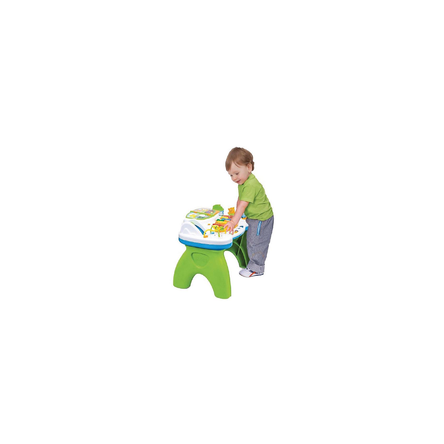 Музыкальный игровой столик Весёлая историяМузыкальный игровой столик Весёлая история  предназначен специально для малышей и подходит деткам от 9 месяцев!  Ваш малыш будет играть с набором, познакомится с различными цветами и цифрами, разовьет  мелкую моторику, слух. Ребенок будет переворачивать странички музыкальной книжки, и познавать удивительную веселую историю. При прокрутке карусельки он услышит приятные звуки и увидит мигающие огоньки. Маленькие пчелки, долетев до своей тучки, сообщат ему об этом звуковым сигналом. Ножки столика снимаются, превращая его в игровую панель, с которой малыш может играть на полу. Работает от батареек (не входят в комплект)<br><br>Дополнительная информация: <br><br>- материал: пластик.  <br>- эффекты: свет, звук.<br>- требует сборки: да<br>- особенности: съемная верхняя панель;<br>- световые и звуковые эффекты; <br>- тип батареек: 2* АА / lr6 1.5v <br>- размер коробки: 19 * 33 * 54 см.<br><br>Музыкальный игровой столик Весёлая история можно купить в нашем интернет-магазине.<br><br>Ширина мм: 590<br>Глубина мм: 560<br>Высота мм: 370<br>Вес г: 1260<br>Возраст от месяцев: 9<br>Возраст до месяцев: 2147483647<br>Пол: Унисекс<br>Возраст: Детский<br>SKU: 4904806