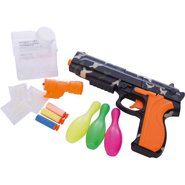 Игрушка детская Пистолет с мягкими шарикамиИгрушечные пистолеты и бластеры<br>Игрушечный пистолет торговой марки  Yako стреляет мягкими гелевыми шариками  и дротиками Nerf. Этот универсальный автомат снабжен взводным механизмом и имеет прицельную дальность стрельбы 8-12 метров, в зависимости от типа используемых зарядов. В набор входят набор дротиков, съемный прицел с фонариком, кегли-мишени и сухие гелевые шарики, которые перед использованием  нужно поместить в емкость с водой,. С такой игрушкой ребенок почувствует себя настоящим бойцом. Но пистолет довольно грозное оружие, поэтому его игрушечная копия не рекомендуется детям младше 14 лет.<br><br>Дополнительная информация: <br><br>- возраст: от 14 лет<br>- пол: для мальчиков<br>- комплект: пистолет, сухие шарики, дротики, ёмкость для шариков, прицел с фонариком, кегли.<br>- дальность действия: 8-12 м.<br>- материал: пластик, резина.<br>- размер упаковки: 30 x 24 x 7 см.<br>- упаковка: картонная коробка открытого типа.<br><br>Игрушку детскую Пистолет с мягкими шариками  можно купить в нашем интернет-магазине.<br>Ширина мм: 250; Глубина мм: 630; Высота мм: 400; Вес г: 514; Возраст от месяцев: 168; Возраст до месяцев: 2147483647; Пол: Унисекс; Возраст: Детский; SKU: 4904808;