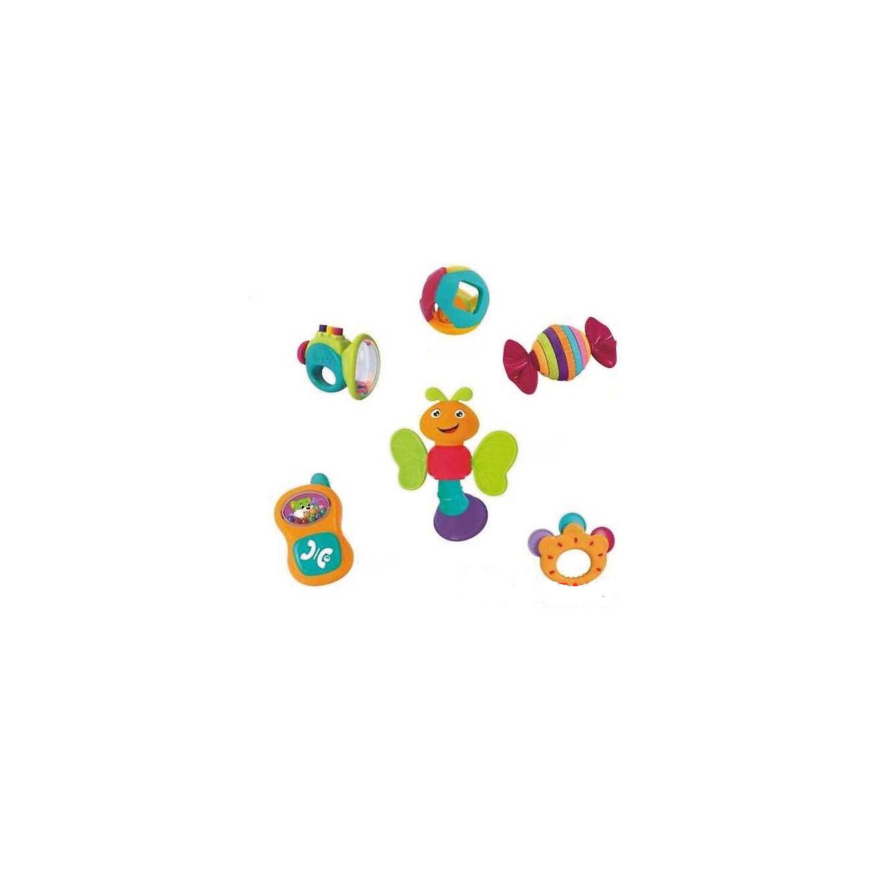 Набор погремушекПогремушки<br>Набор игрушек-погремушек Huile Toys будет отличным приобретением для Вашего крохи и подарит ему море  удовольствия и незабываемые эмоции  благодаря разнообразию цветов,  форм и звуков. В наборе есть погремушка в виде шара с шариком внутри,звонкий бубен, пчёлка с крылышками, которые могут служить прорезывателями, а голова крутится ииздает трескучий звук, труба с пищащими кнопками, конфета-трещотка с вращающимисяэлементами и телефон со щелкающей кнопкой. Игры с погремушками будут способствовать развитию у ребенка мелкой моторики рук, хватательного рефлекса и цветового восприятия. Игрушки выполнены в ярких красочных цветах, их края закруглены во избежание травм малыша. <br><br>Дополнительная информация: <br><br>- возраст: от 3 месяцев<br>- пол: для мальчиков и девочек<br>- комплект: 6 погремушек.<br>- материал: пластик.<br>- упаковка: картонная коробка блистерного типа.<br><br>Набор погремушек можно купить в нашем интернет-магазине.<br><br>Ширина мм: 480<br>Глубина мм: 310<br>Высота мм: 90<br>Вес г: 950<br>Возраст от месяцев: 3<br>Возраст до месяцев: 2147483647<br>Пол: Унисекс<br>Возраст: Детский<br>SKU: 4904833