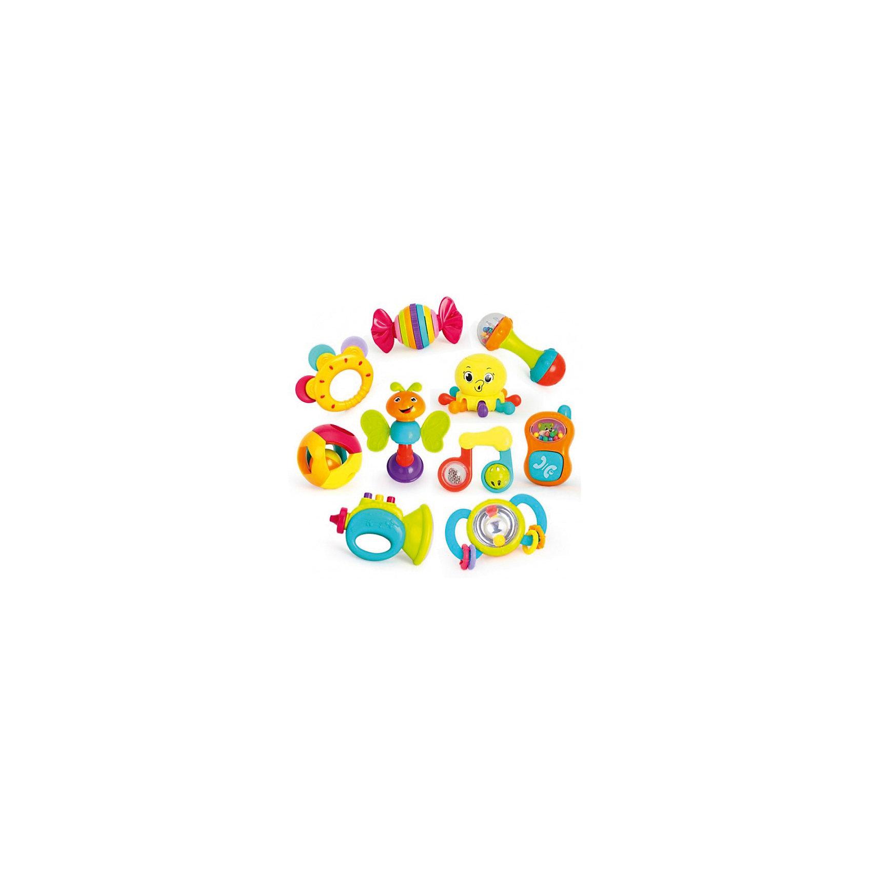Набор погремушекИгрушки для новорожденных<br>Набор игрушек-погремушек Huile Toys – это отличное приобретение  для Вашего крохи. Игры с погремушками будут способствовать развитию у ребенка мелкой моторики рук, хватательного рефлекса и цветового восприятия. При встряске погремушки издают хорошо различимые звуки, благодаря чему развивается слуховое восприятие малыша. Разноцветные шарики и полоски на погремушках стимулируют визуальное восприятие и способность различать цвета. Игрушки выполнены в ярких красочных цветах, их края закруглены во избежание травм  малыша.<br>Погремушки Huile Toys можно трясти, сдавливать или скручивать, тренируя гибкость пальцев и улучшая координацию движений. Благодаря различным текстурам погремушки развивают тактильные ощущения. В набор входят 10 погремушек: шарик с маленьким гремящим шариком внутри, бубен, пчелка с крылышками-прорезывателями, труба с кнопочками-пищалками; конфета-трещотка; телефончик с кнопкой, издающей щелчки; игрушка-нота с вращающимися шариками; гантелька с кнопкой-пищалкой; осьминог с поднимающимися и опускающимися лапками; погремушка.<br><br>Дополнительная информация: <br><br>- возраст: от 3 месяцев<br>- пол: для мальчиков и девочек<br>- комплект: 10 погремушек.<br>- материал: пластик.<br>- упаковка: картонная коробка блистерного типа.<br><br>Набор погремушек можно купить в нашем интернет-магазине.<br><br>Ширина мм: 480<br>Глубина мм: 430<br>Высота мм: 90<br>Вес г: 1433<br>Возраст от месяцев: 3<br>Возраст до месяцев: 2147483647<br>Пол: Унисекс<br>Возраст: Детский<br>SKU: 4904834