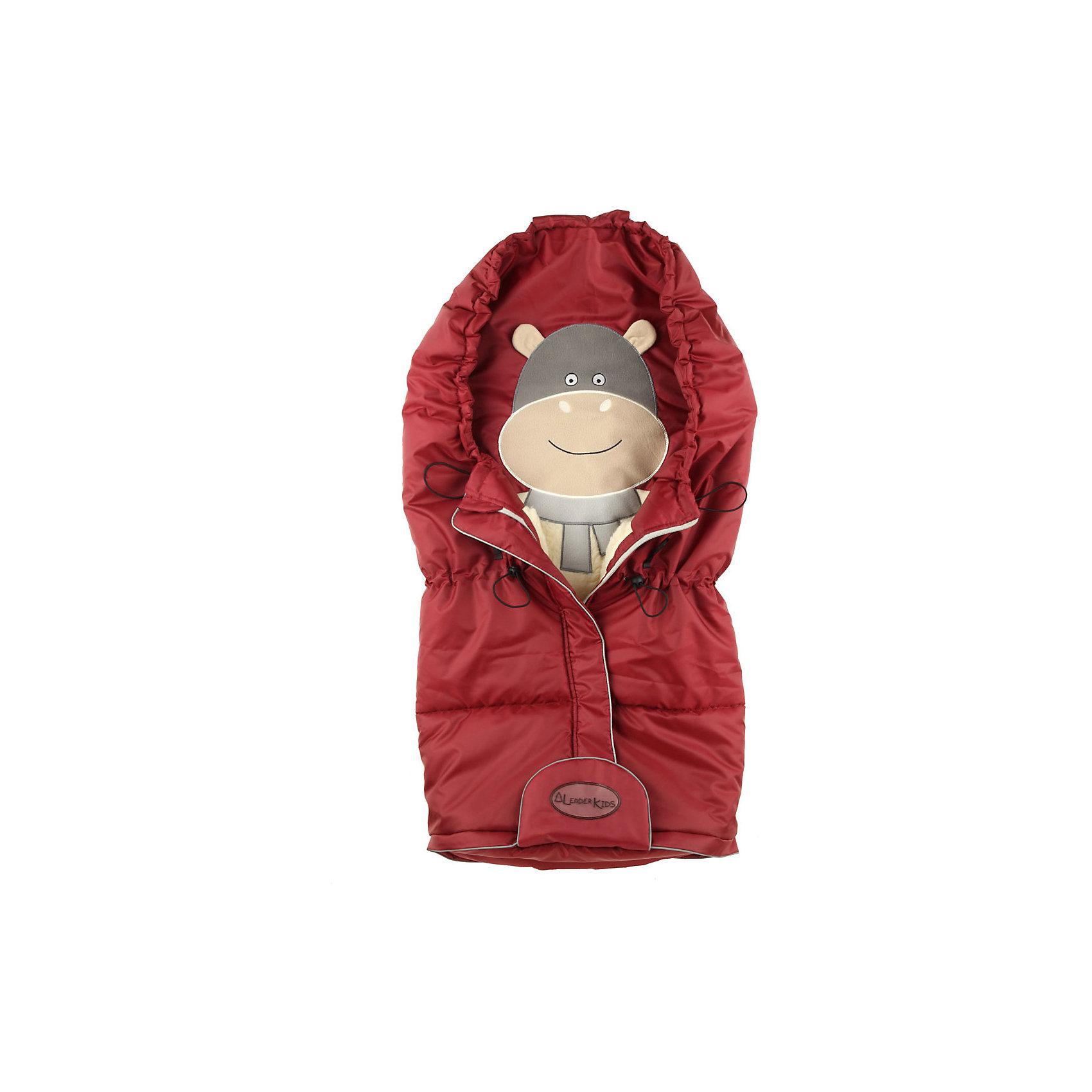 Конверт на овчине Бегемот, Leader kids, бордовыйХарактеристики:<br><br>• Вид детской одежды: верхняя<br>• Предназначение: для прогулок, на выписку<br>• Возраст: от 0 до 6 месяцев<br>• Сезон: зима<br>• Степень утепления конверта: высокая<br>• Температурный режим: до -30? С<br>• Пол: для девочки<br>• Тематика рисунка: бегемот<br>• Цвет: бордовый, серый, бежевый <br>• Материал: верх – полиэстер, подклад – натуральная овчина <br>• Форма конверта: мешок<br>• Нижняя часть конверта регулируется по росту малыша <br>• По центру имеется застежка-молния<br>• Трансформируемый капюшон<br>• Размеры (Ш*Д): 44*84 см<br>• Вес: 1 кг 100 г <br>• Особенности ухода: допускается деликатная стирка без использования красящих и отбеливающих средств<br><br>Конверт на овчине Бегемот, Leader kids, бордовый производителем которого является отечественный торговый бренд, выполнен классической прямоугольной формы с трансформируемым капюшоном. Конверт предназначен для прогулок в зимнее время года в коляске или в коляске-санках. Верхняя часть изделия изготовлена из полиэстера (плащевки), который хорошо защищает от влаги и ветра, при этом поддерживая комфортную температуру внутри конверта. В качестве утеплителя использован синтепон и подклад из натуральной овчины. Все материалы соответствуют международным стандартам безопасности, они гипоаллергенны. Швы изделия тщательно обработаны. У конверта предусмотрена комфортная система одевания: на передней части по центру имеется застежка молния и нижний клапан. Конверт может быть трансформирован в одеяло или матрасик. Изделие оснащено системой фиксации к коляске или санкам, что обеспечит безопасность и будет препятствовать скатыванию малыша во время прогулки. Конверт выполнен в стильном дизайне: на внутренней части изделия выполнена аппликация в виде веселого бегемотика. Конверт на овчине Бегемот, Leader kids, бордовый – это качество и комфорт для Вашего малыша!<br><br>Конверт на овчине Бегемот, Leader kids, бордовый можно купить в нашем интернет-магазине.<b