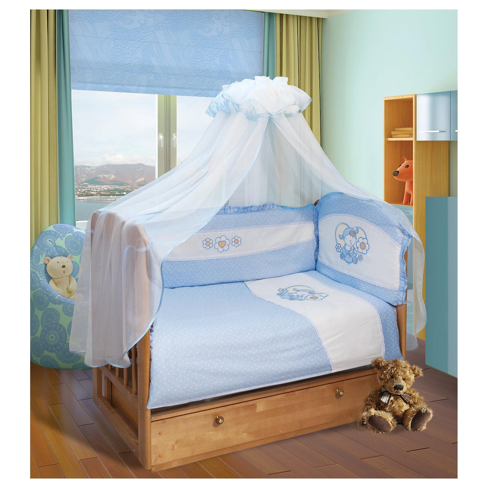 Постельное белье Овечка 7 пред., Soni kids, горошки голубойНежный комплект детского постельного белья обязательно понравится Вашему малышу! <br><br><br> Дополнительная информация:<br><br>- Размеры: <br> Одеяло 140х110 см.<br> Пододеяльника 142х112 см.<br> Простынке на резинке 150х90 см.<br> Подушка 40х60 см.<br> Наволочка 40х60 см. <br> Вуаль-балдахин 165х420 см.<br>- Орнамент: голубой горошек.<br>- Возраст: до 3 лет.<br>- Материал: 100% хлопок.<br>- Размер упаковки: 25х60х45 см.<br>- Вес в упаковке: 1200 г.<br><br>Купить постельное белье Овечка от Soni kids можно в нашем магазине.<br><br>Ширина мм: 250<br>Глубина мм: 600<br>Высота мм: 450<br>Вес г: 1200<br>Возраст от месяцев: 0<br>Возраст до месяцев: 36<br>Пол: Мужской<br>Возраст: Детский<br>SKU: 4905940