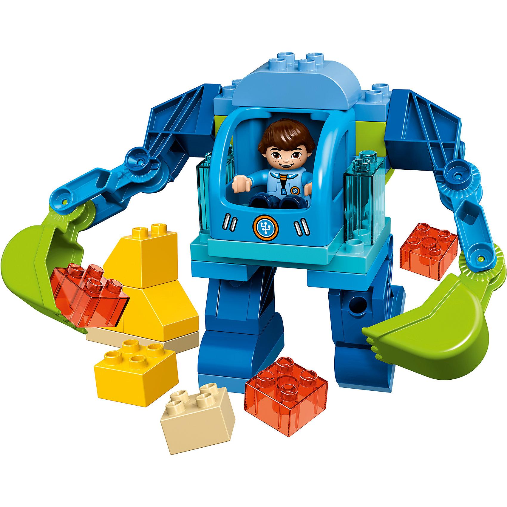 LEGO DUPLO 10825: Экзокостюм МайлзаГероя мультфильма Майлз с другой планеты обожает множество современных мальчишек, поэтому набор из его фигурки и конструктора в этой тематике обязательно обрадует ребенка. Игры с такими комплектами помогают детям развивать воображение, мелкую моторику, логику и творческое мышление.<br>Набор состоит из фигурки Майлза, экзоскелета с подвижными руками-лопатами и кубков. С таким комплектом можно придумать множество игр!<br><br>Дополнительная информация:<br><br>цвет: разноцветный;<br>размер коробки: 28,2 х 7,6 х 26,2 см;<br>вес: 582 г;<br>материал: пластик;<br>количество деталей: 37.<br><br>Комплект Экзокостюм Майлза от компании LEGO DUPLO можно купить в нашем магазине.<br><br>Ширина мм: 76<br>Глубина мм: 282<br>Высота мм: 262<br>Вес г: 564<br>Возраст от месяцев: 24<br>Возраст до месяцев: 60<br>Пол: Унисекс<br>Возраст: Детский<br>SKU: 4906926