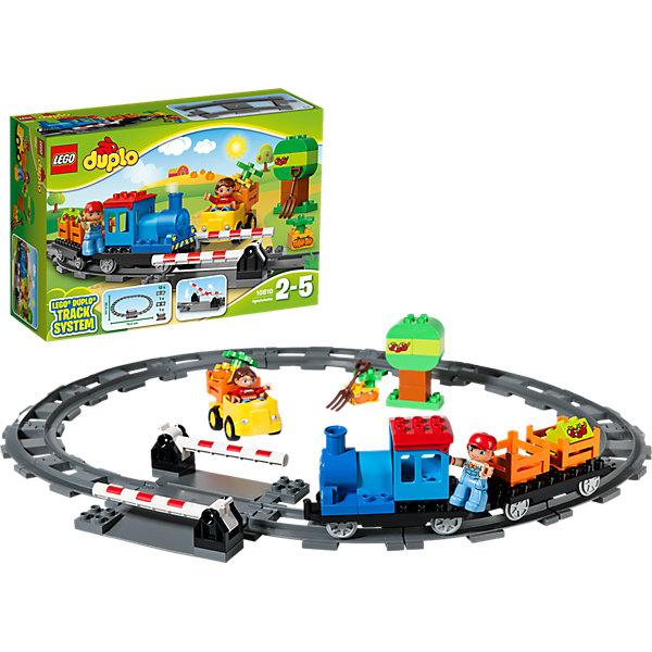 LEGO DUPLO 10810: ЛокомотивПластмассовые конструкторы<br>Играть в поезда обожает множество современных мальчишек, поэтому набор фигурок и конструктора в этой тематике обязательно обрадует ребенка. Игры с такими комплектами помогают детям развивать воображение, мелкую моторику, логику и творческое мышление.<br>Набор состоит из грузового поезда (локомотив с вагончиком), железной дороги овальной формы, жёлтого автомобиля, дерева, обучающих кубиков: 2 с тыковками и 2 с яблоками и двух фигурок<br>машиниста и водителя. С таким комплектом можно придумать множество игр!<br><br>Дополнительная информация:<br><br>цвет: разноцветный;<br>материал: пластик;<br>количество деталей: 45;<br>размеры: грузовой поезд (10х28х6 см), железная дорога (62х70 см), машина (9х11х7 см).<br><br>Комплект Локомотив от компании LEGO DUPLO можно купить в нашем магазине.<br><br>Ширина мм: 384<br>Глубина мм: 261<br>Высота мм: 119<br>Вес г: 1010<br>Возраст от месяцев: 24<br>Возраст до месяцев: 60<br>Пол: Унисекс<br>Возраст: Детский<br>SKU: 4906927