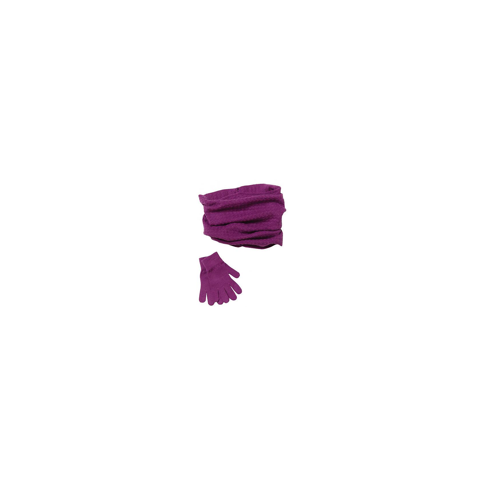 Комплект: шарф и перчатки для девочки ScoolКомплект: шарф и перчатки для девочки из коллекции осень-зима 2016-2017 от известного бренда Scool. Стильный и удобный комплект из шарфа и перчаток для прохладной погоды. Приятный темно-сиреневый цвет в сочетании с интересной вязкой придет по вкусу вашей моднице. Шарф круглый, выполнен в стиле снуд, его нельзя завязать. Комплект отлично подойдет как к курткам, так и к пальто.<br><br>Дополнительная информация:<br>- Длина шарфа: 39 см.<br>- Ширина шарфа: 27 см.<br><br>Состав: 80% акрил, 20% шерсть <br><br>Комплект: шарф и перчатки для девочек Sela можно купить в нашем интернет-магазине.<br><br>Подробнее:<br>• Для детей в возрасте: от 8 до 14 лет<br>• Номер товара: 4911307<br>Страна производитель: Китай<br><br>Ширина мм: 88<br>Глубина мм: 155<br>Высота мм: 26<br>Вес г: 106<br>Цвет: фиолетовый<br>Возраст от месяцев: 72<br>Возраст до месяцев: 84<br>Пол: Женский<br>Возраст: Детский<br>Размер: 54<br>SKU: 4911306